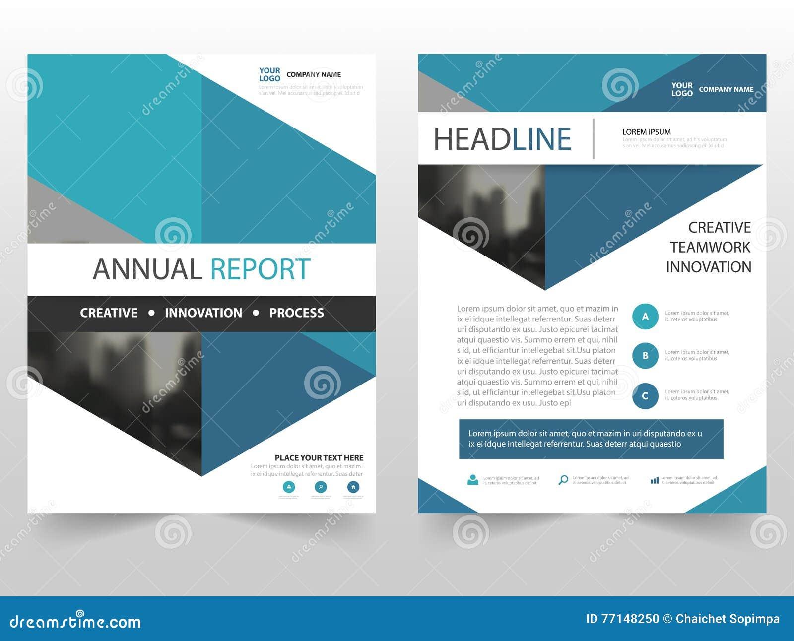 Projeto azul do molde do informe anual do inseto do folheto do folheto do negócio do hexágono, projeto da disposição da capa do l