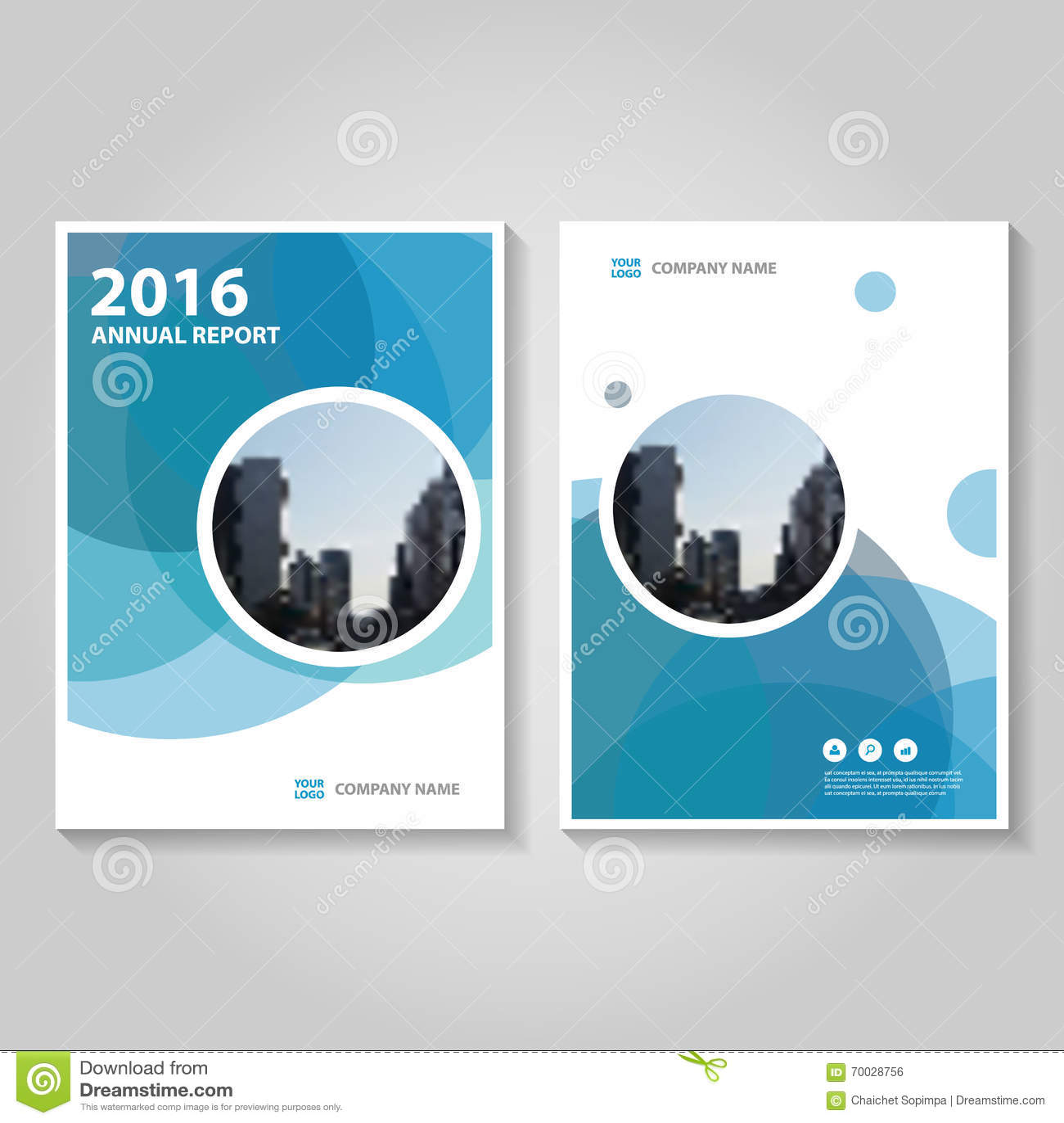 Projeto azul do molde do inseto do folheto do folheto do informe anual do hexágono do círculo, projeto da disposição da capa do l