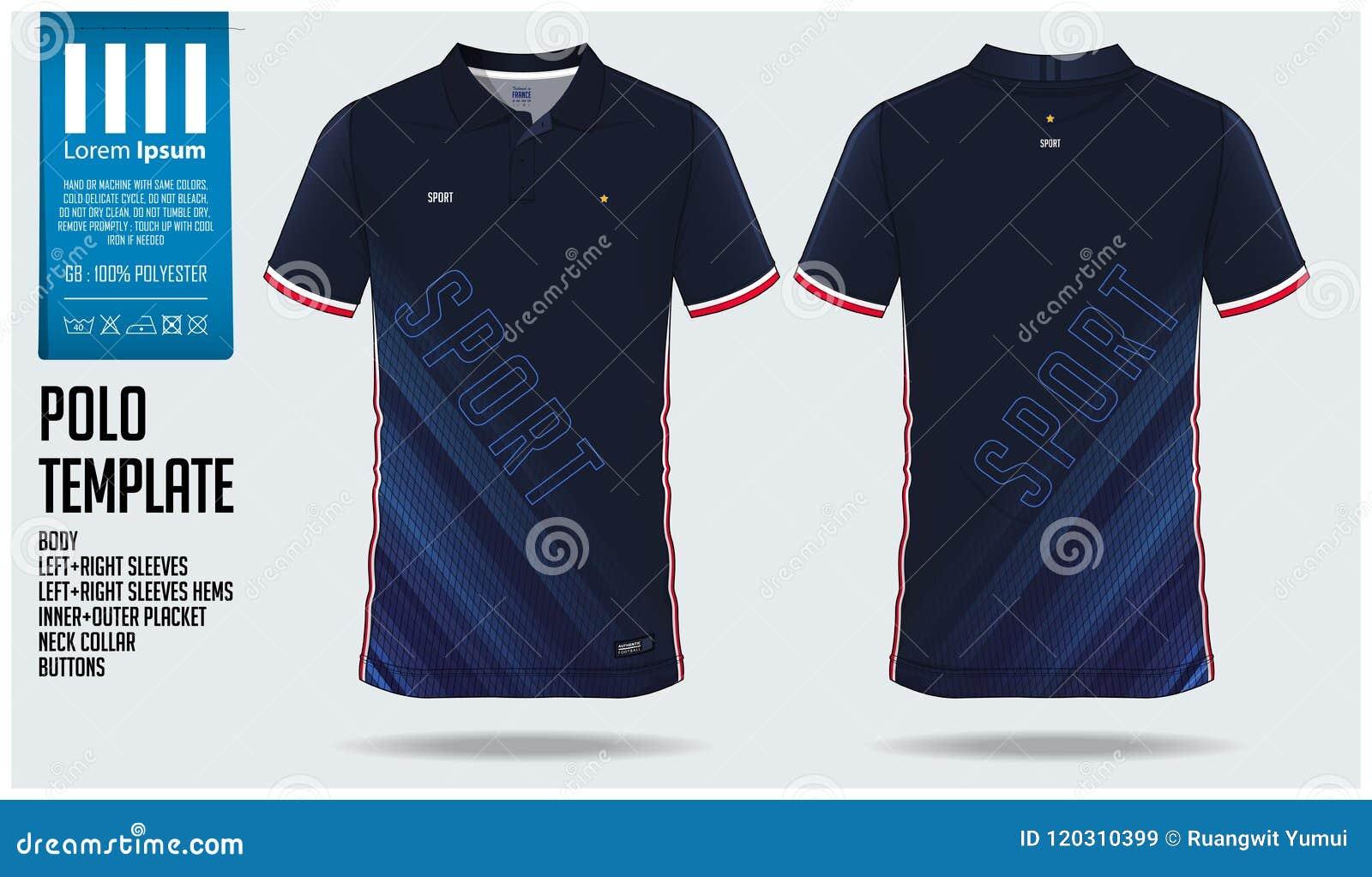 Projeto azul do molde do esporte do polo para o jérsei de futebol, o jogo do futebol ou o sportswear Ostente o uniforme na vista