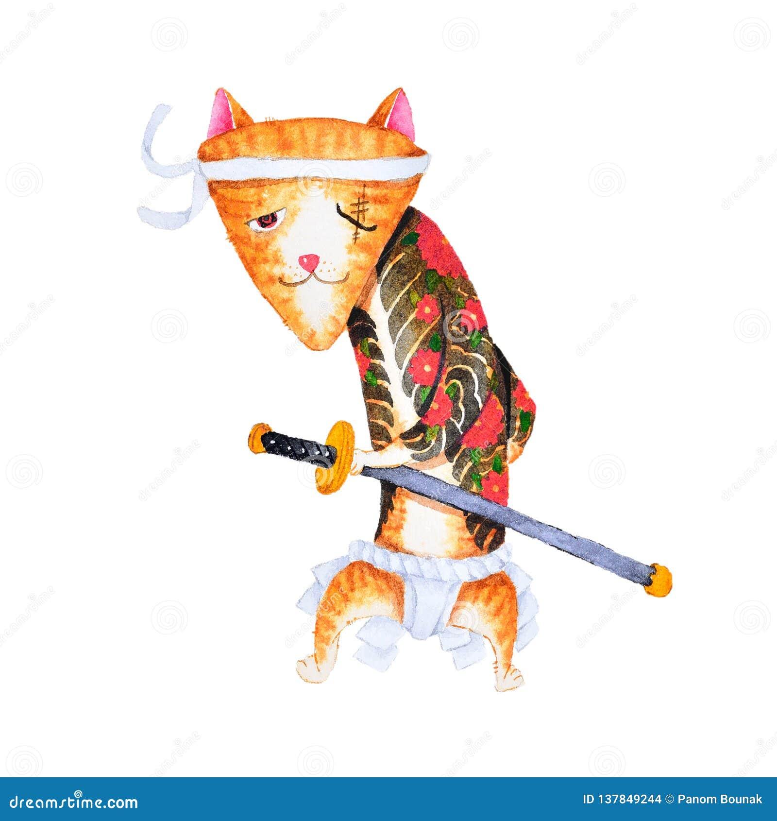 Projeto bonito da arte dos desenhos animados do gato da pintura da aquarela do grupo japonês de yakuza
