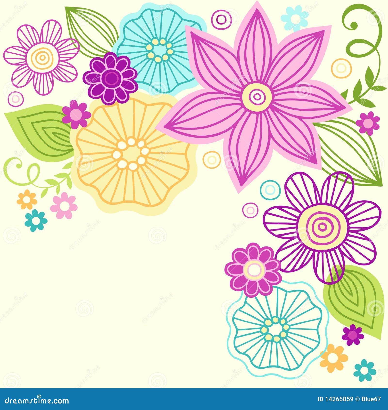 Projeto bonito do vetor do Doodle da flor