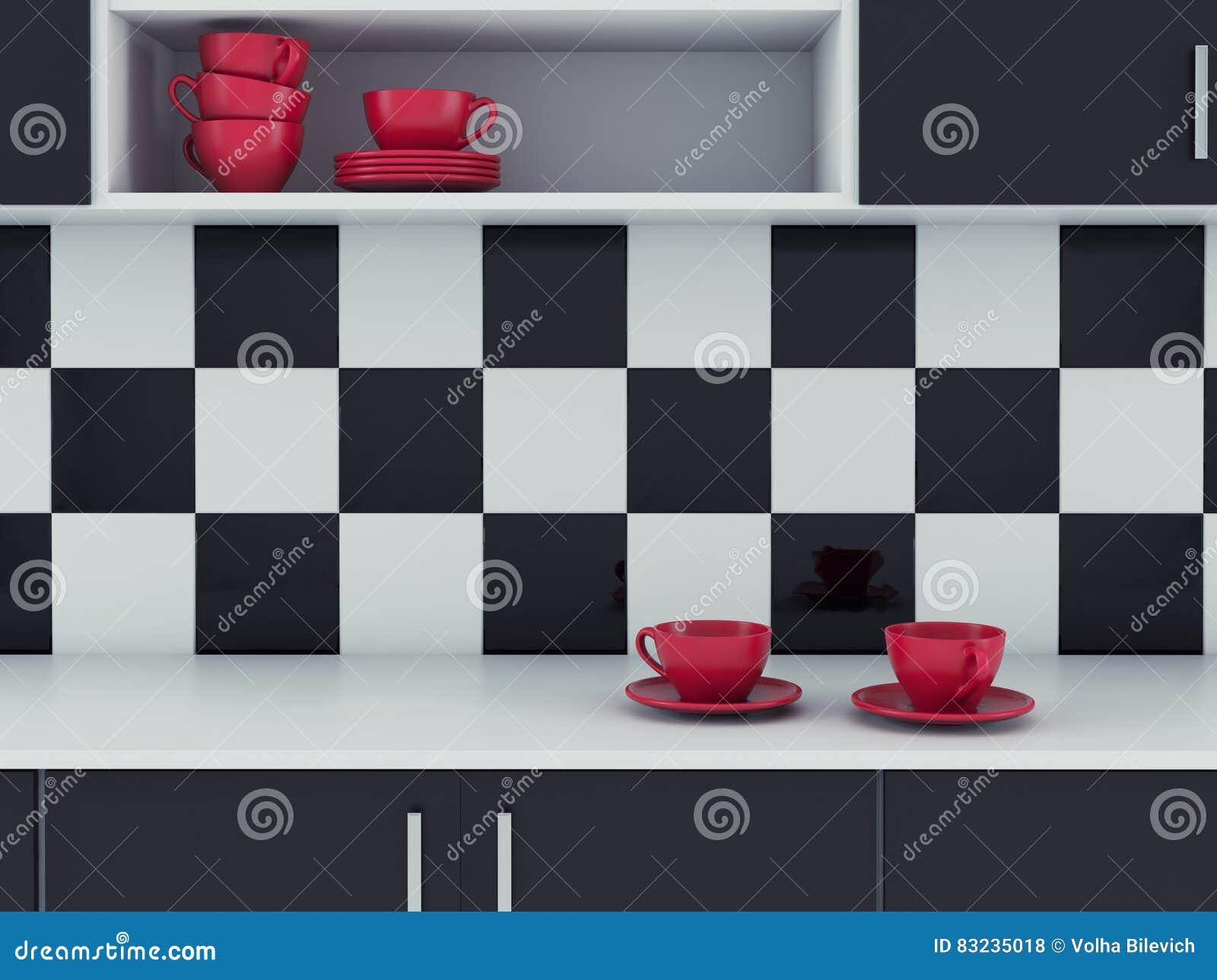 Projeto Branco E Preto Da Cozinha Moderna Ilustra O Stock