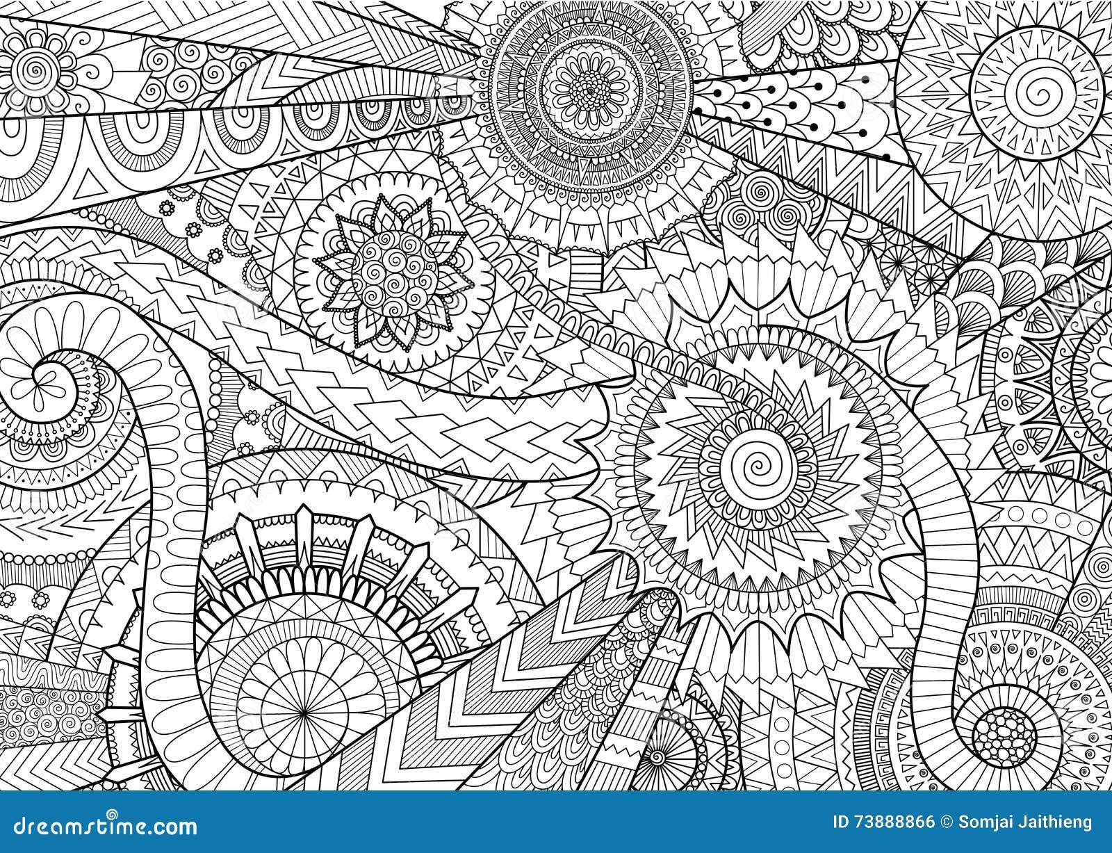 Projeto complexo do movimento da mandala para o livro para colorir e o fundo adultos
