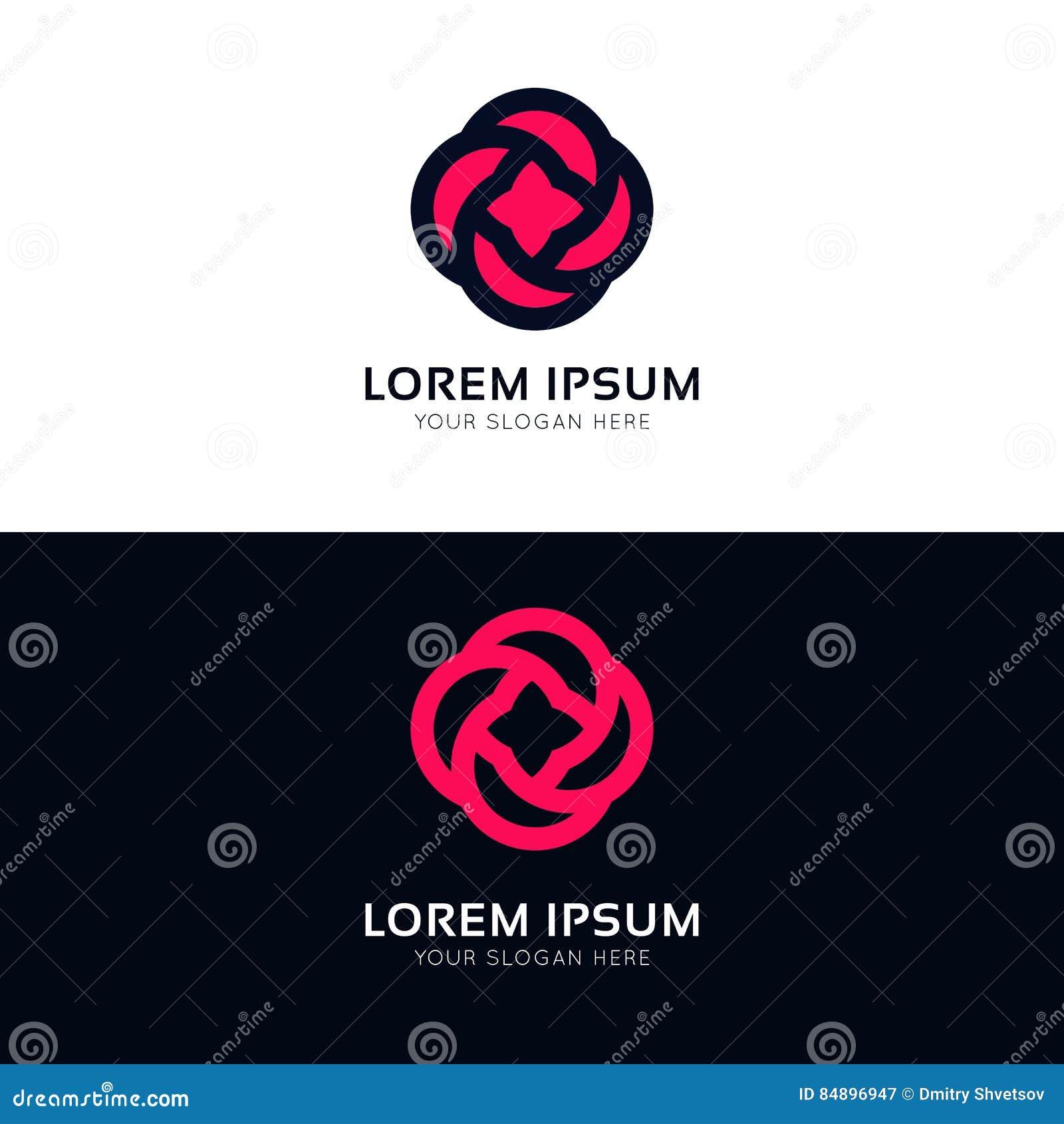 Projeto cor-de-rosa do vetor do logotipo da empresa do sinal do ícone da flor de Minimalistic