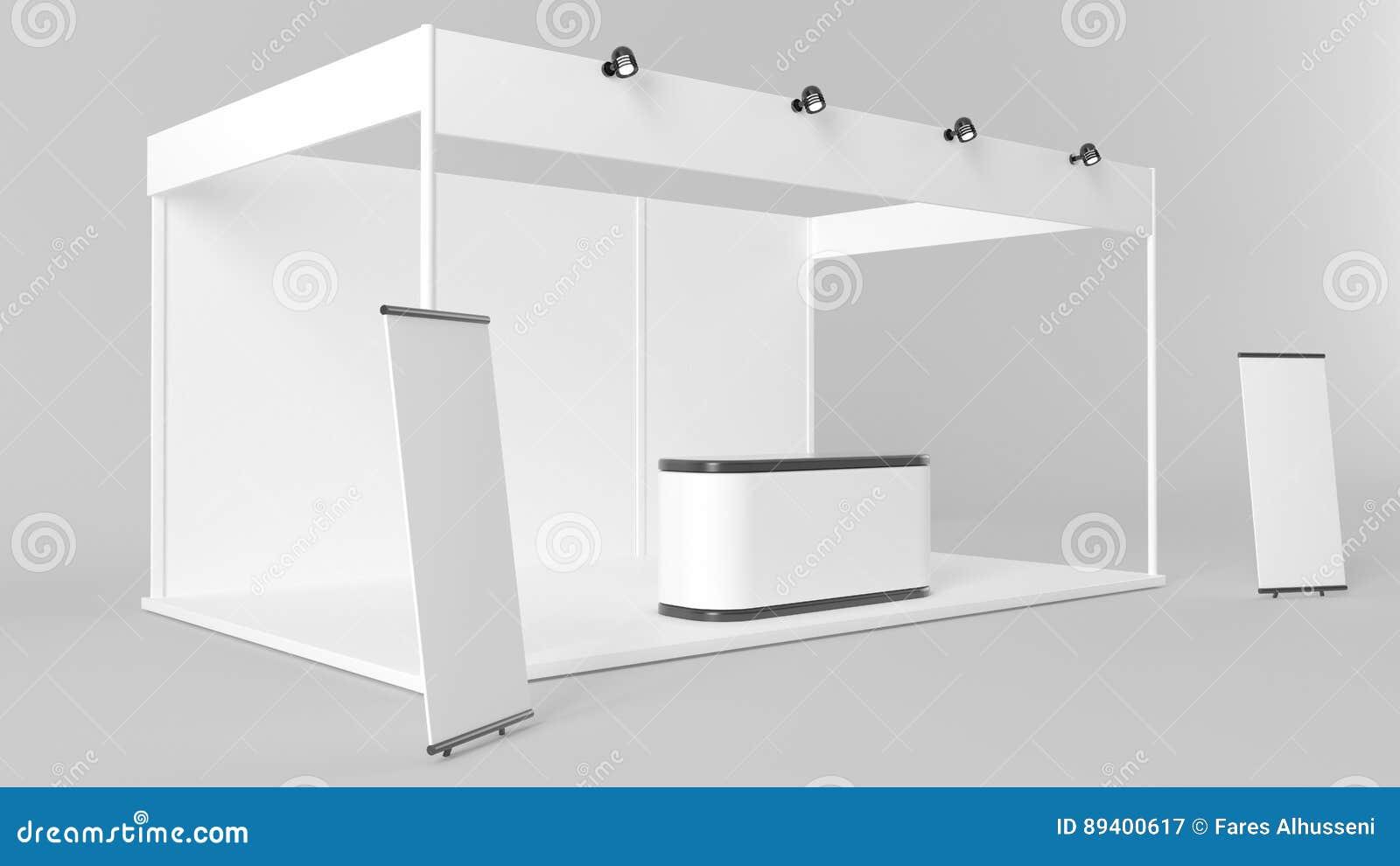 Projeto criativo branco do suporte da exposição Molde da cabine Corporat
