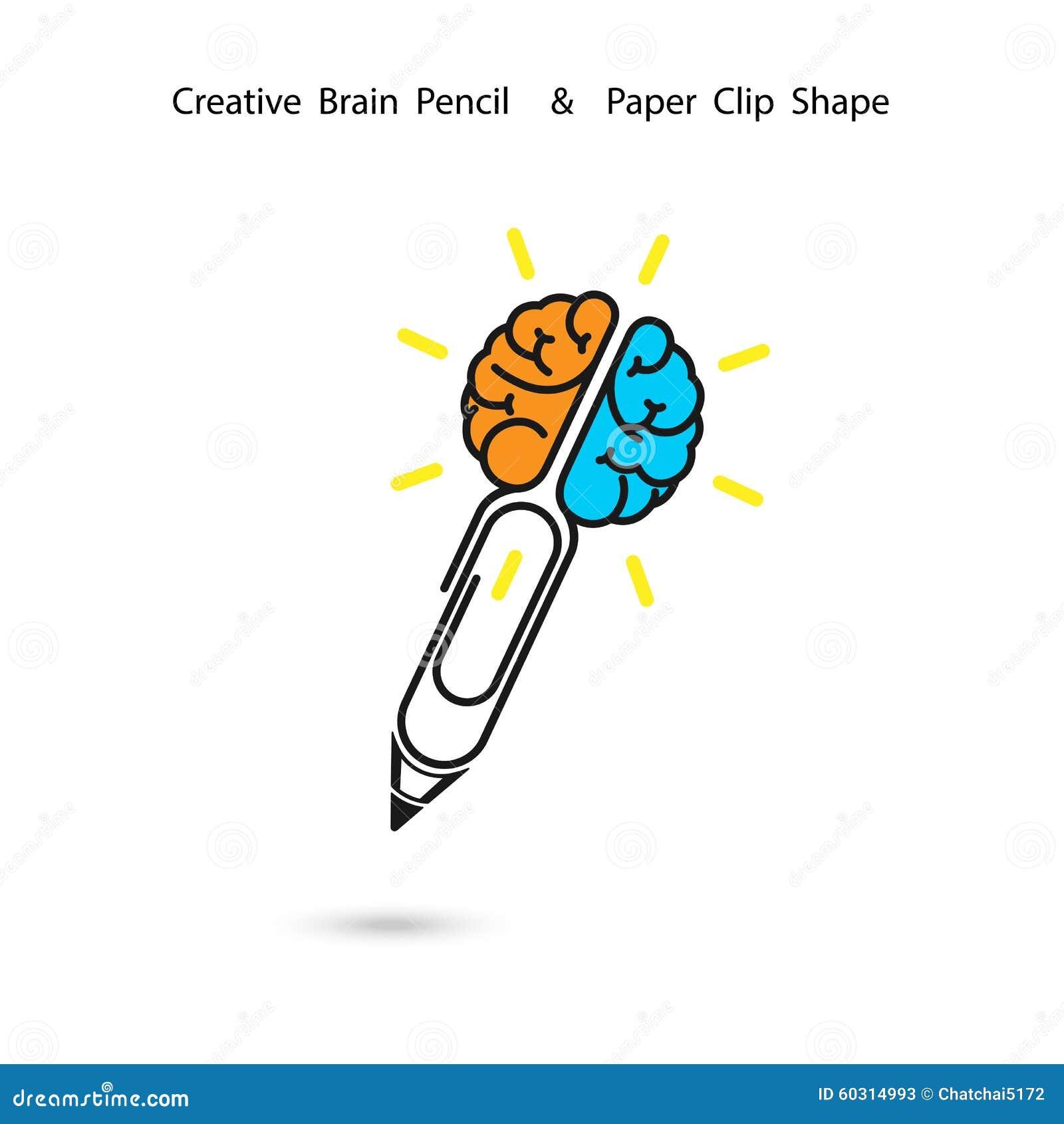 Projeto criativo do logotipo do lápis do cérebro, sinal do clipe de papel Conceito do ide