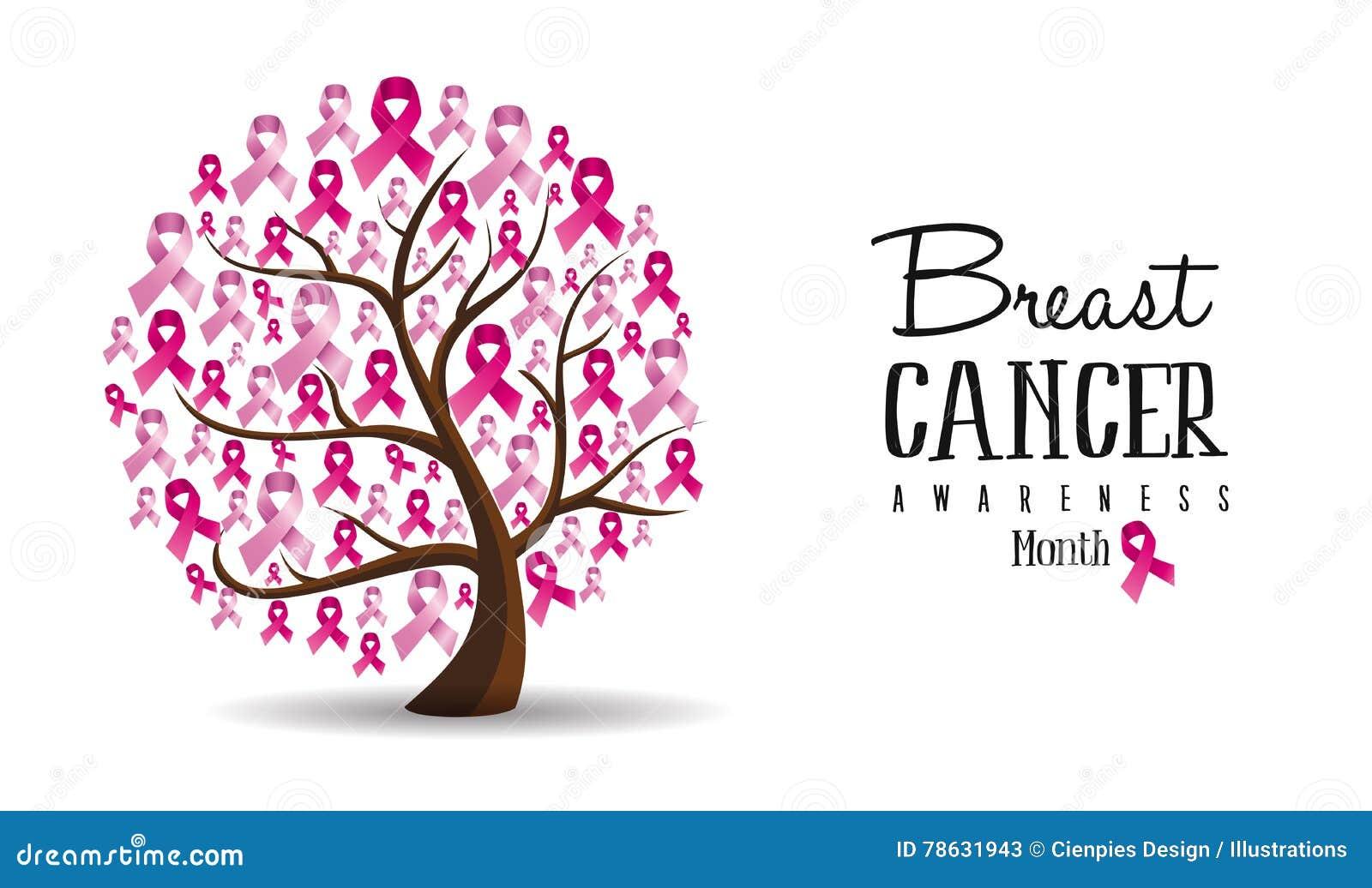 Projeto da árvore de fita do conceito da conscientização do câncer da mama