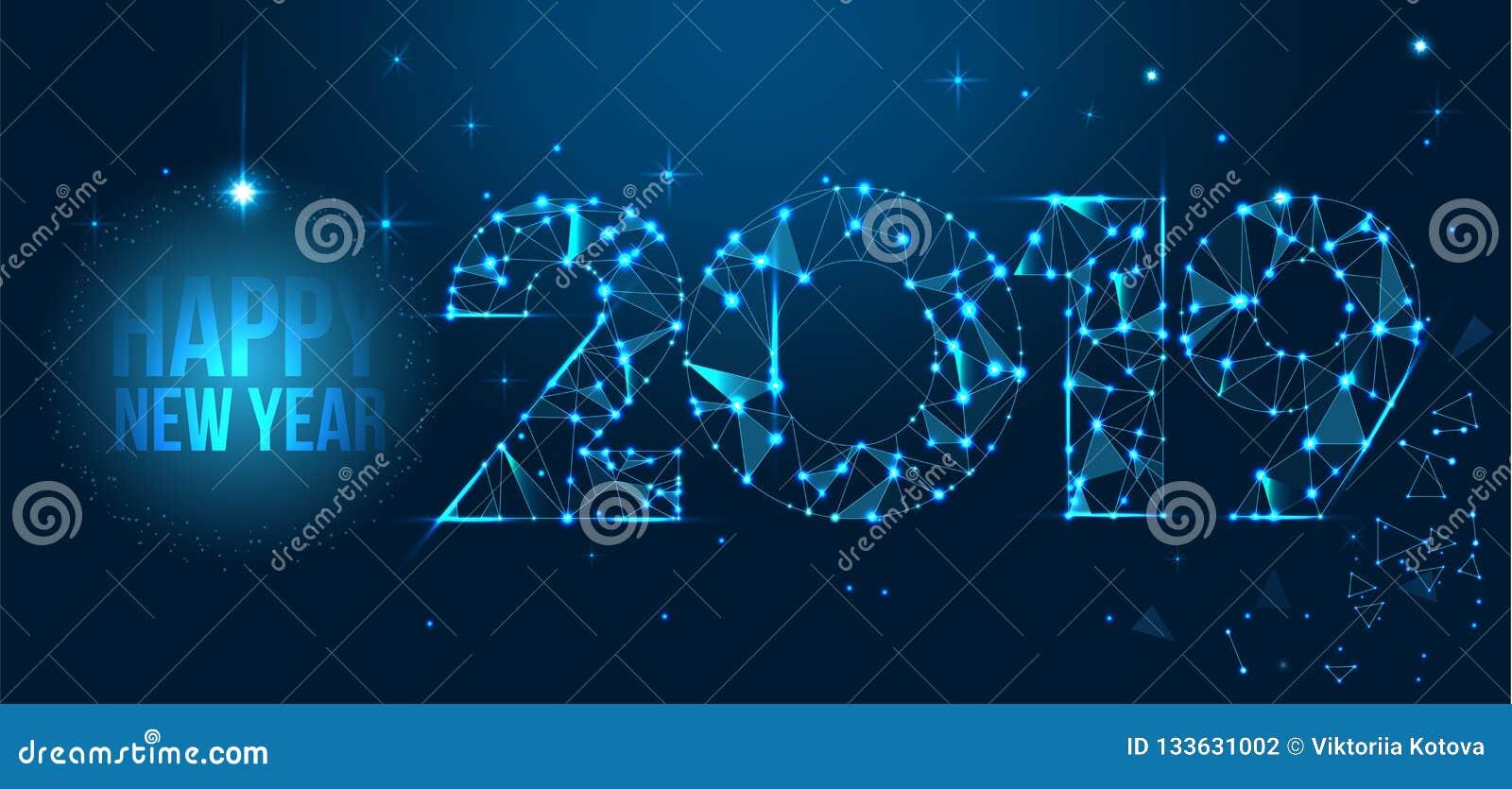 Projeto 2019 da bandeira do ano novo feliz Cartão poligonal geométrico do ano 2019 novo Fundo dos fogos-de-artifício do vetor