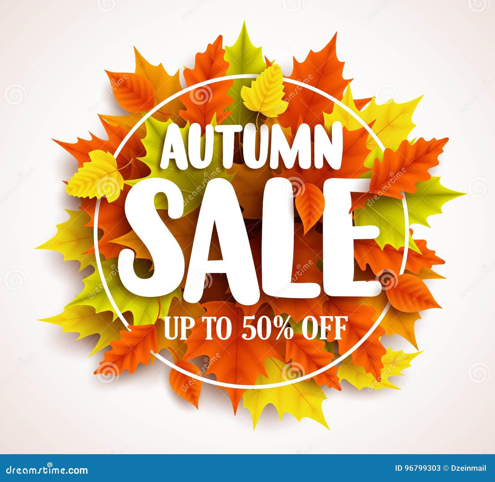 Projeto da bandeira do vetor da venda do outono com texto nas folhas da queda e no quadro coloridos do círculo