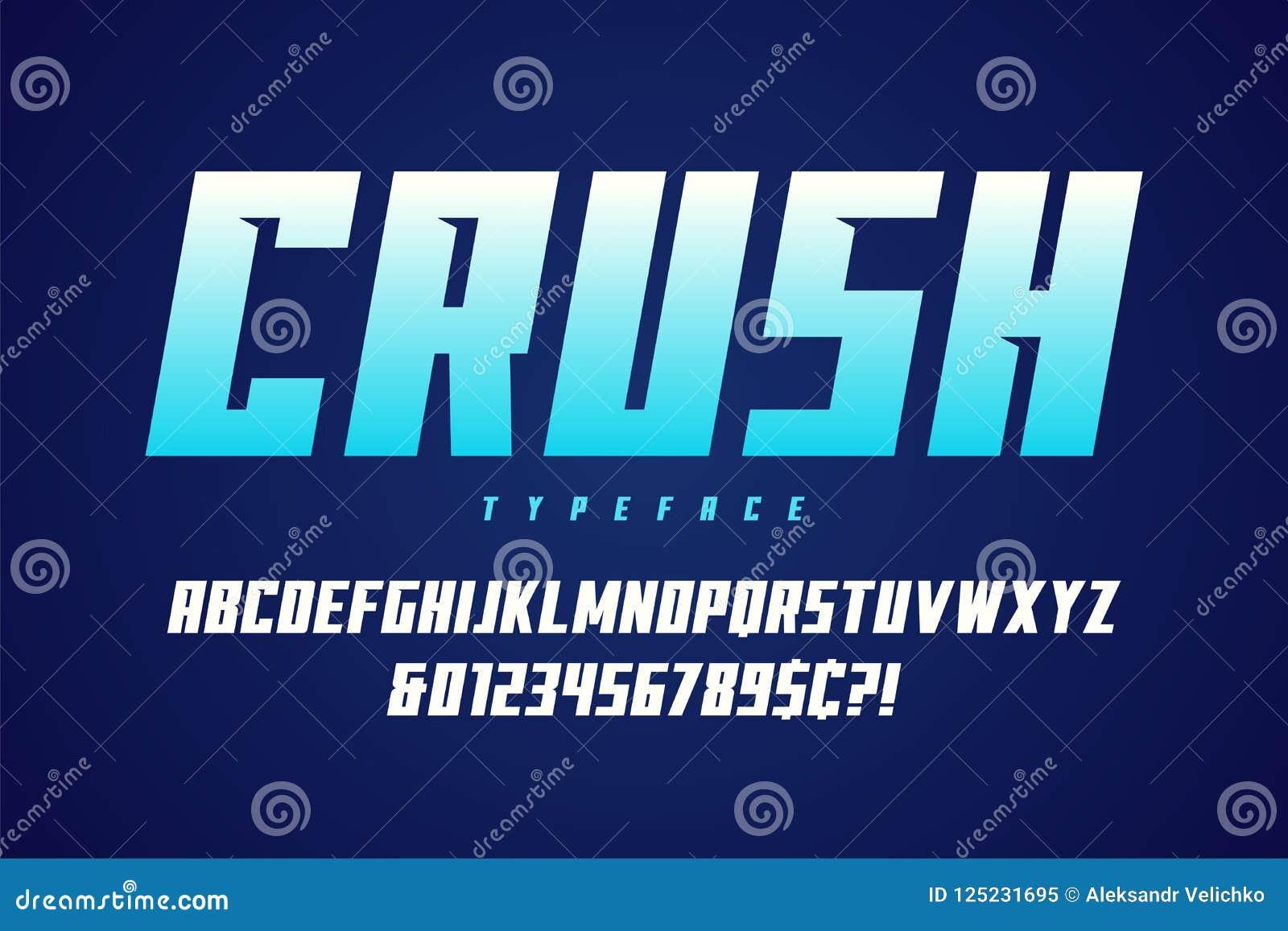 Projeto da fonte da exposição do esmagamento, alfabeto, caráter tipo, letras