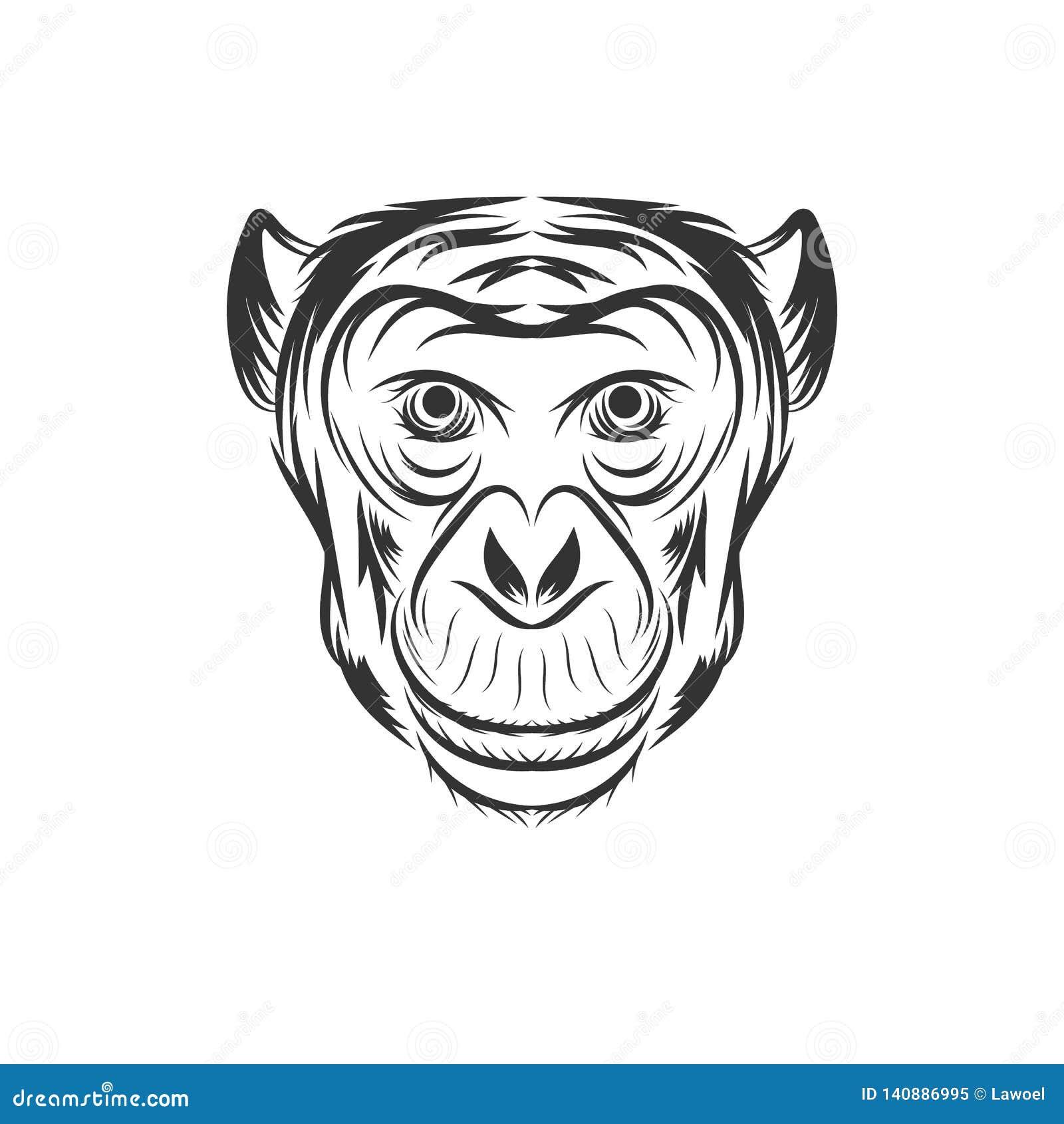 Projeto da ilustração da cara do macaco