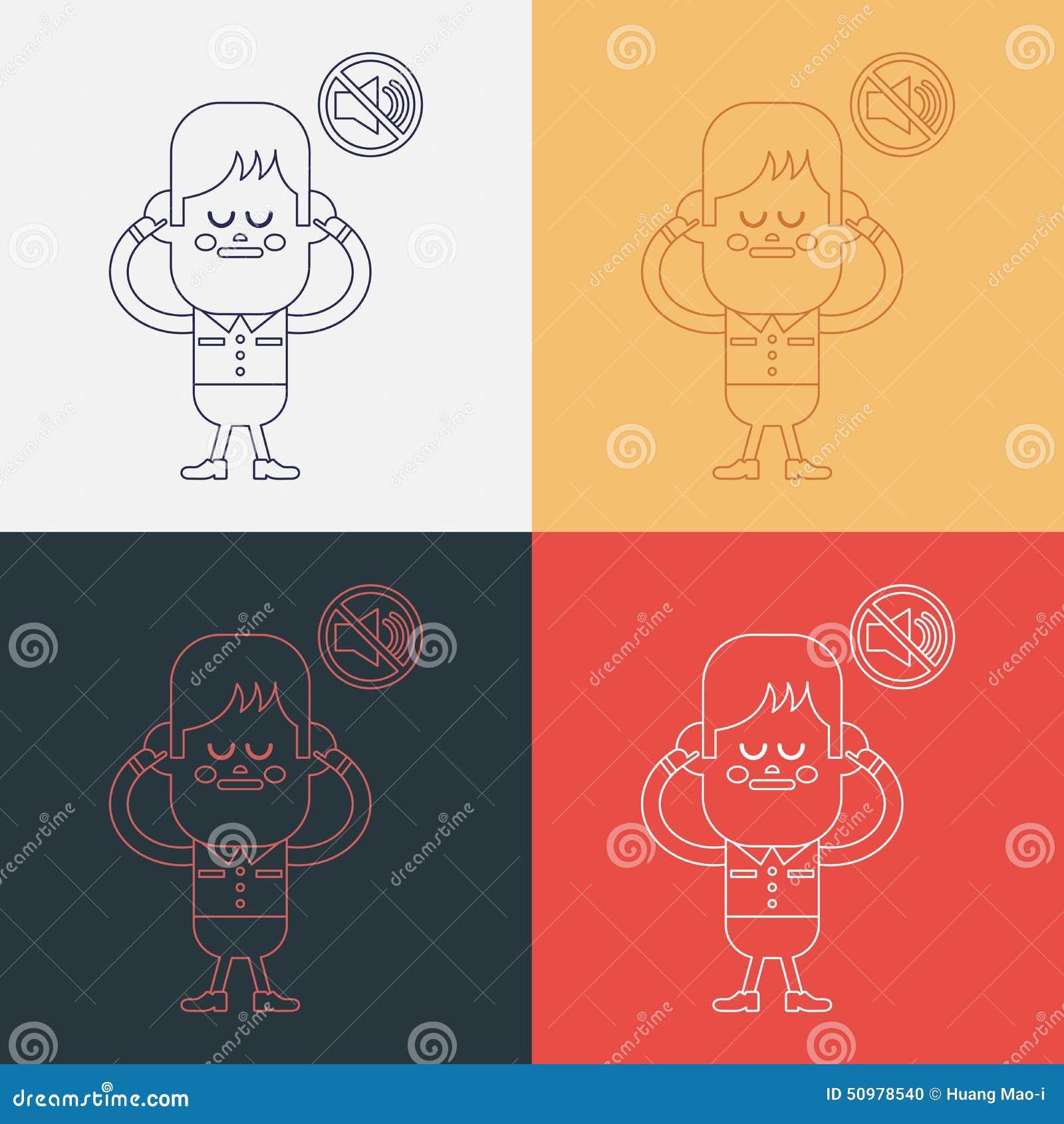 Projeto da ilustração do caráter O menino foi proibido para falar o carto