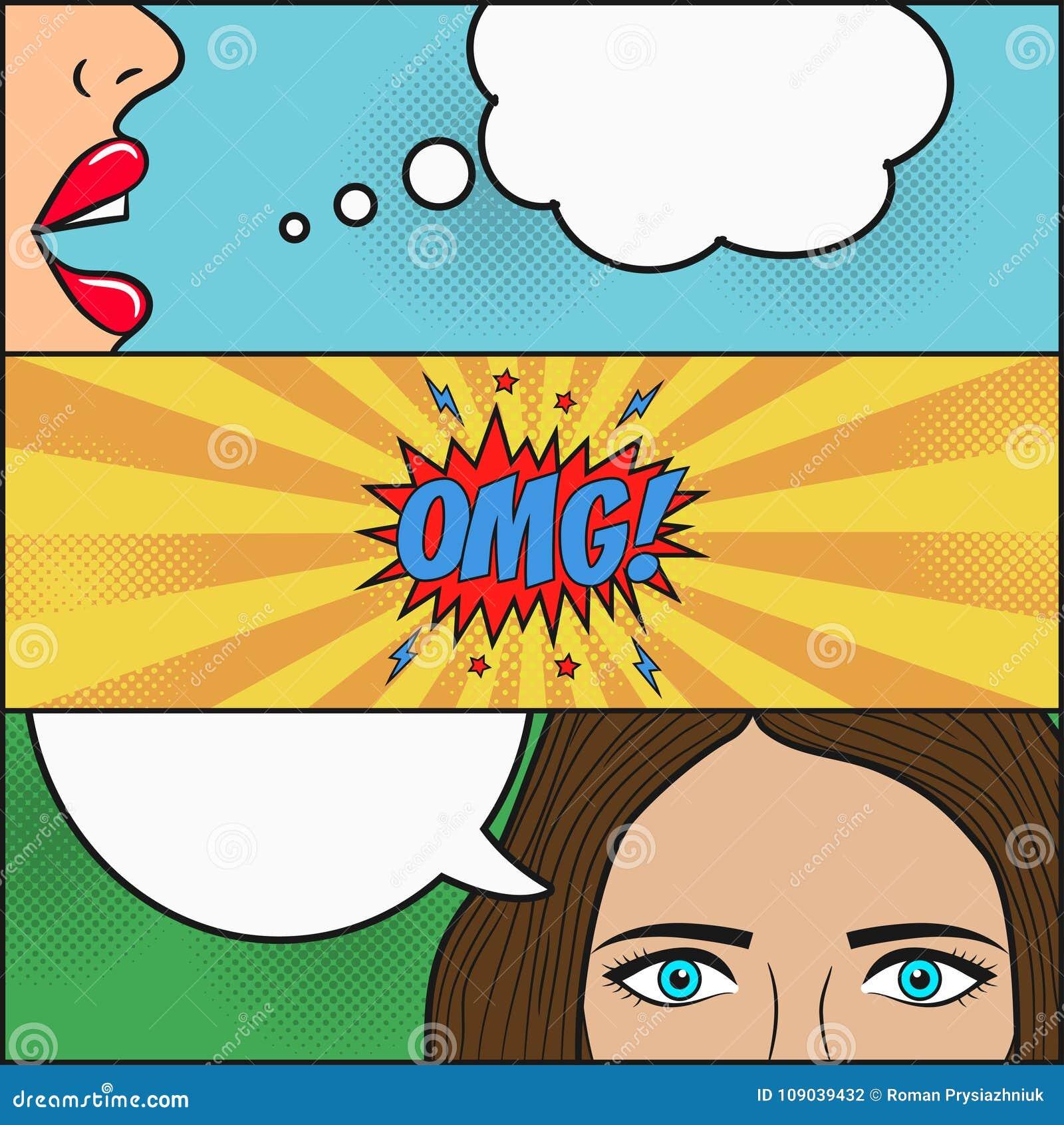 Projeto da página da banda desenhada Diálogo de duas meninas com a bolha do discurso com as emoções - OMG Bordos e cara com os ol