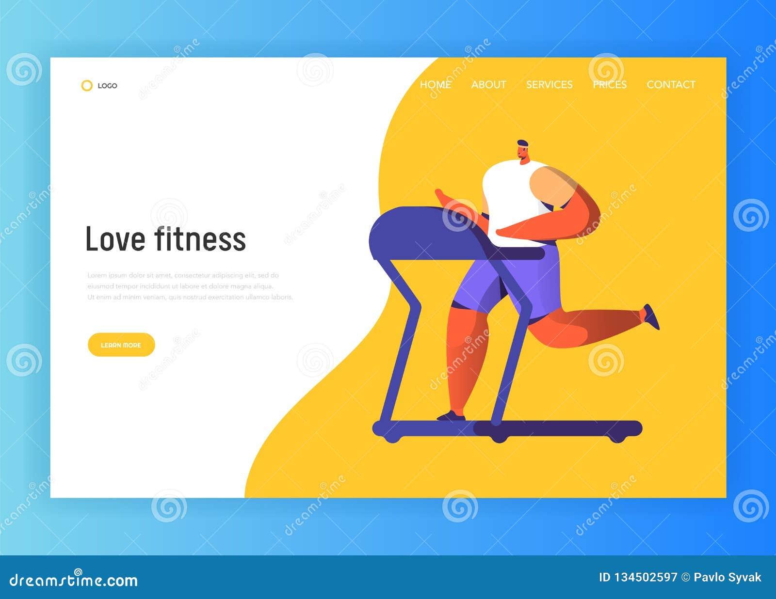 Projeto de caráter de corrida da aptidão para a página de aterrissagem Corrida movimentando-se do homem no Gym Web site urbano sa