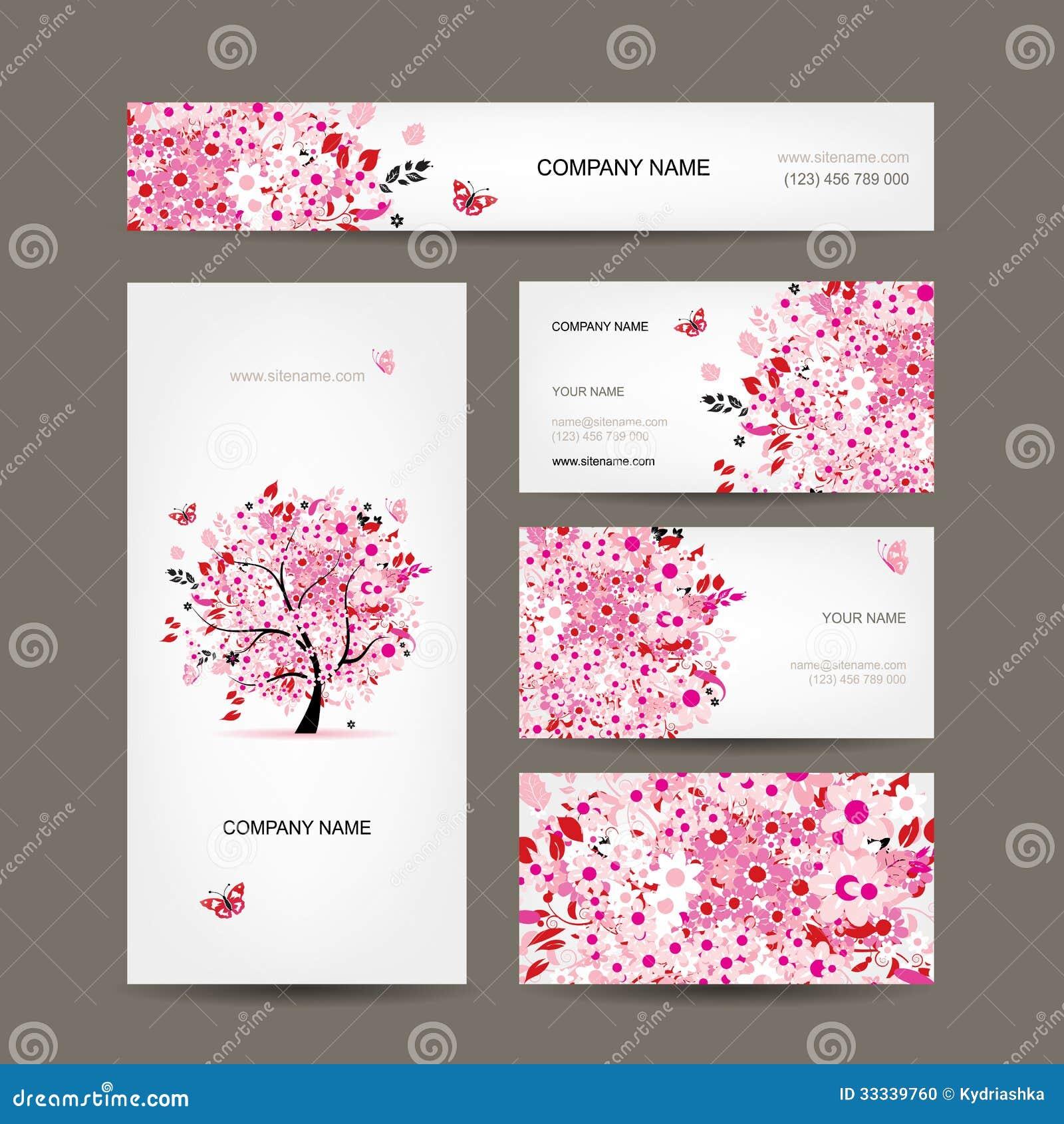 Projeto de cartões com rosa floral da árvore
