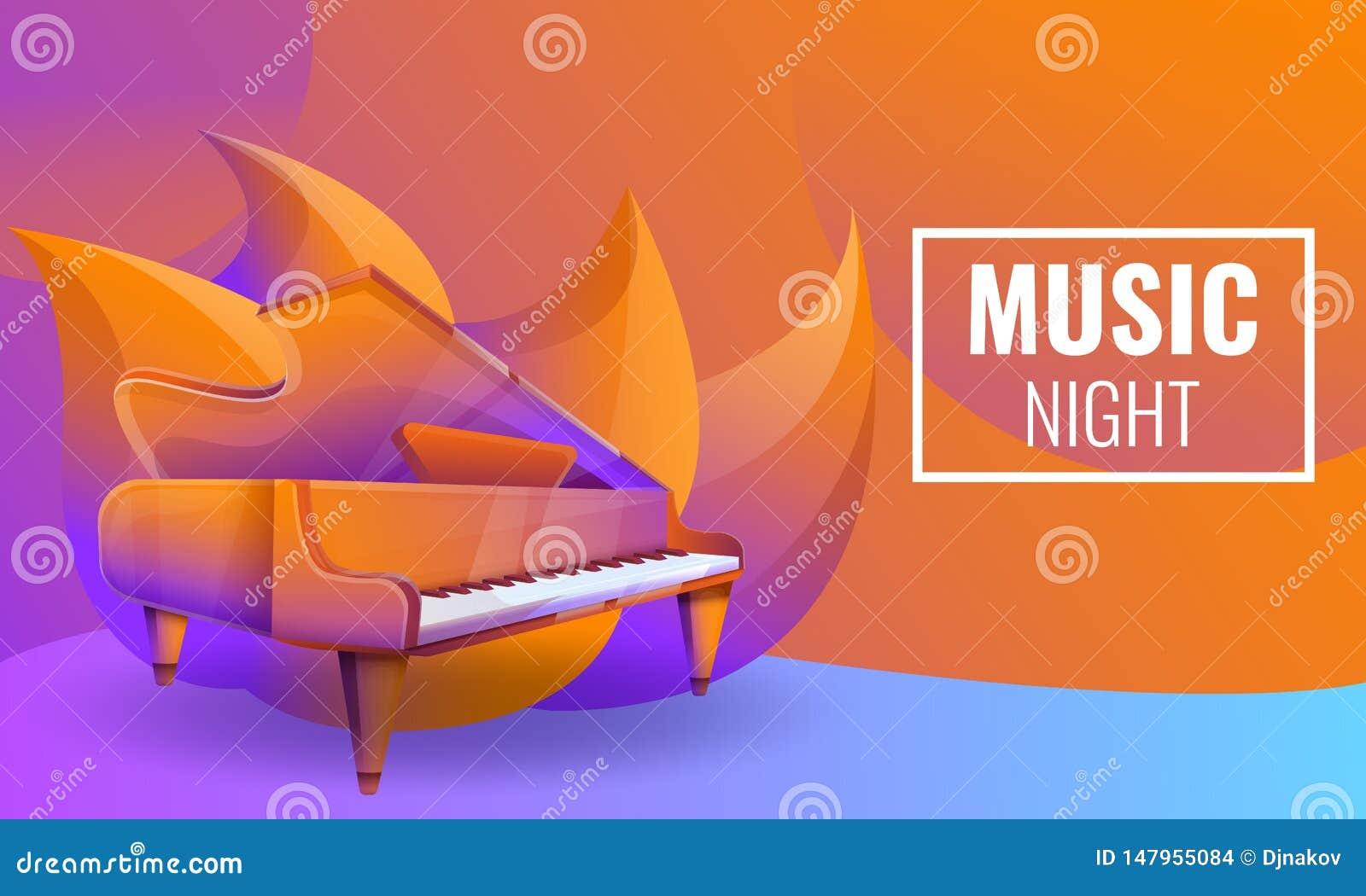 Projeto de conceito musical das noites com piano