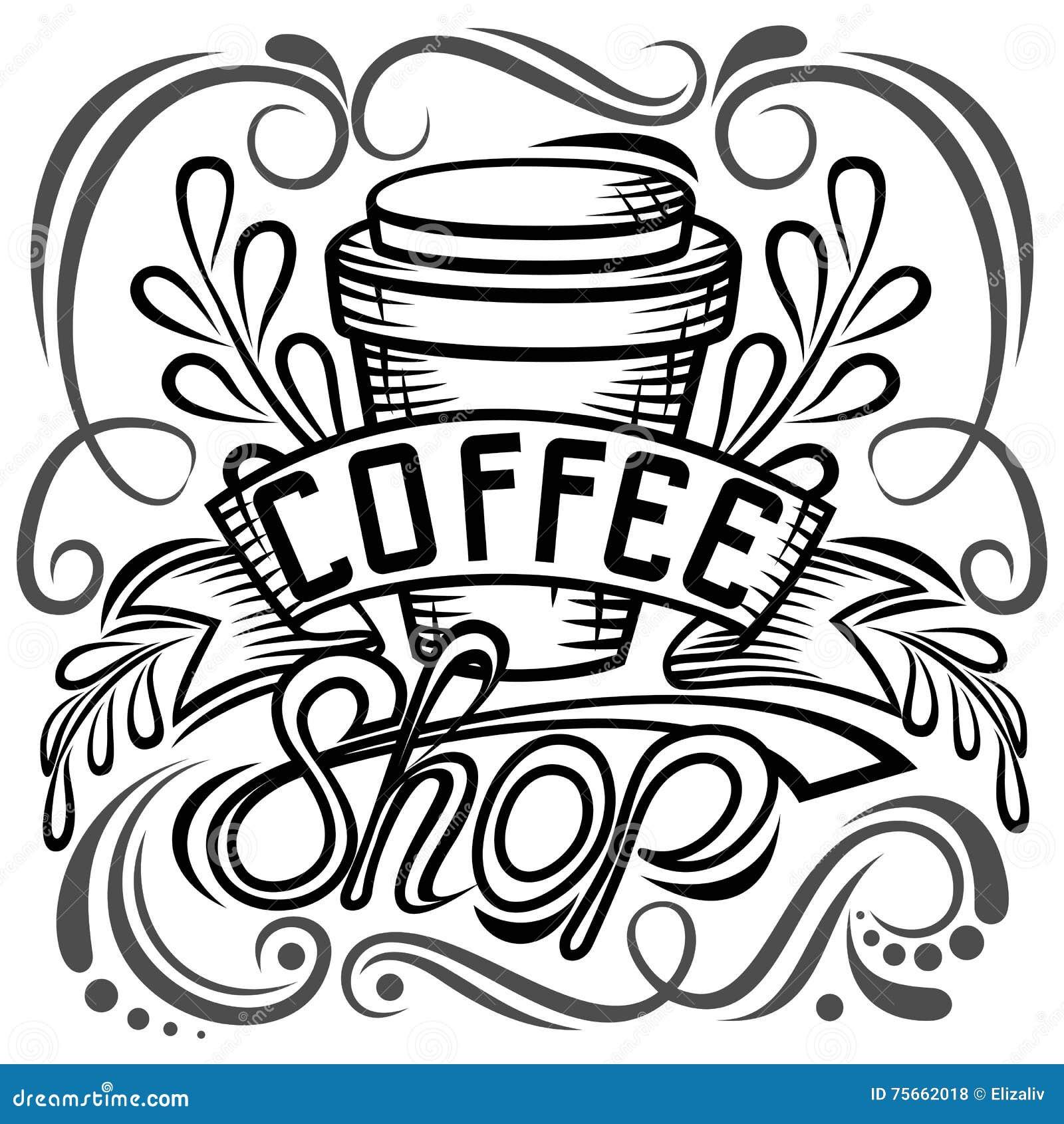 ? projeto de empacotamento do offee Desenho da mão da rotulação, ilustração da forma do café do tema Caneca fechado, loja Isolado