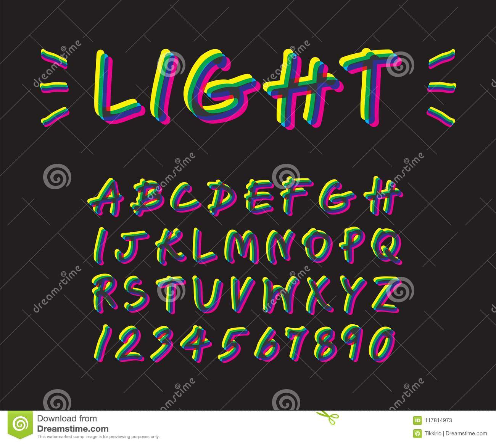 Projeto De Néon Colorido Da Fonte Da Iluminação Na Escrita Caixa