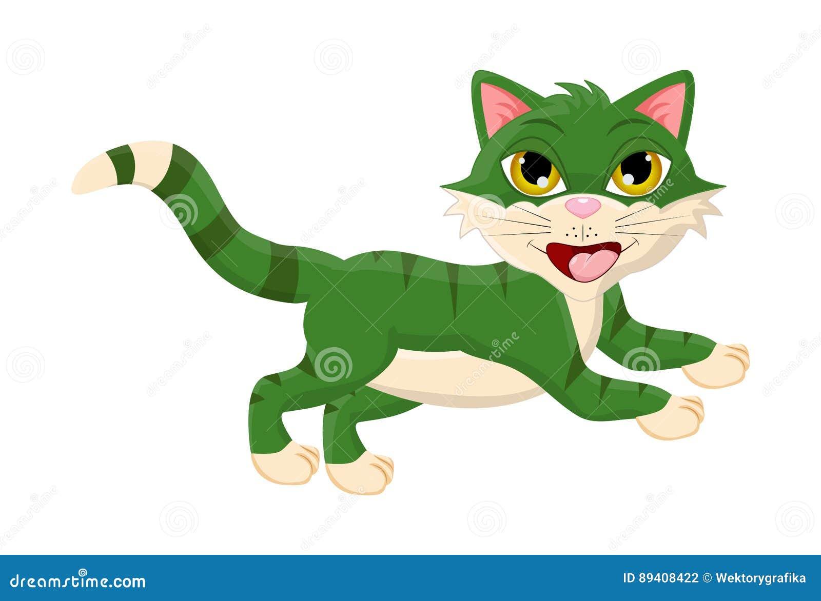 Projeto de salto do ícone do símbolo do vetor do gato dos desenhos animados