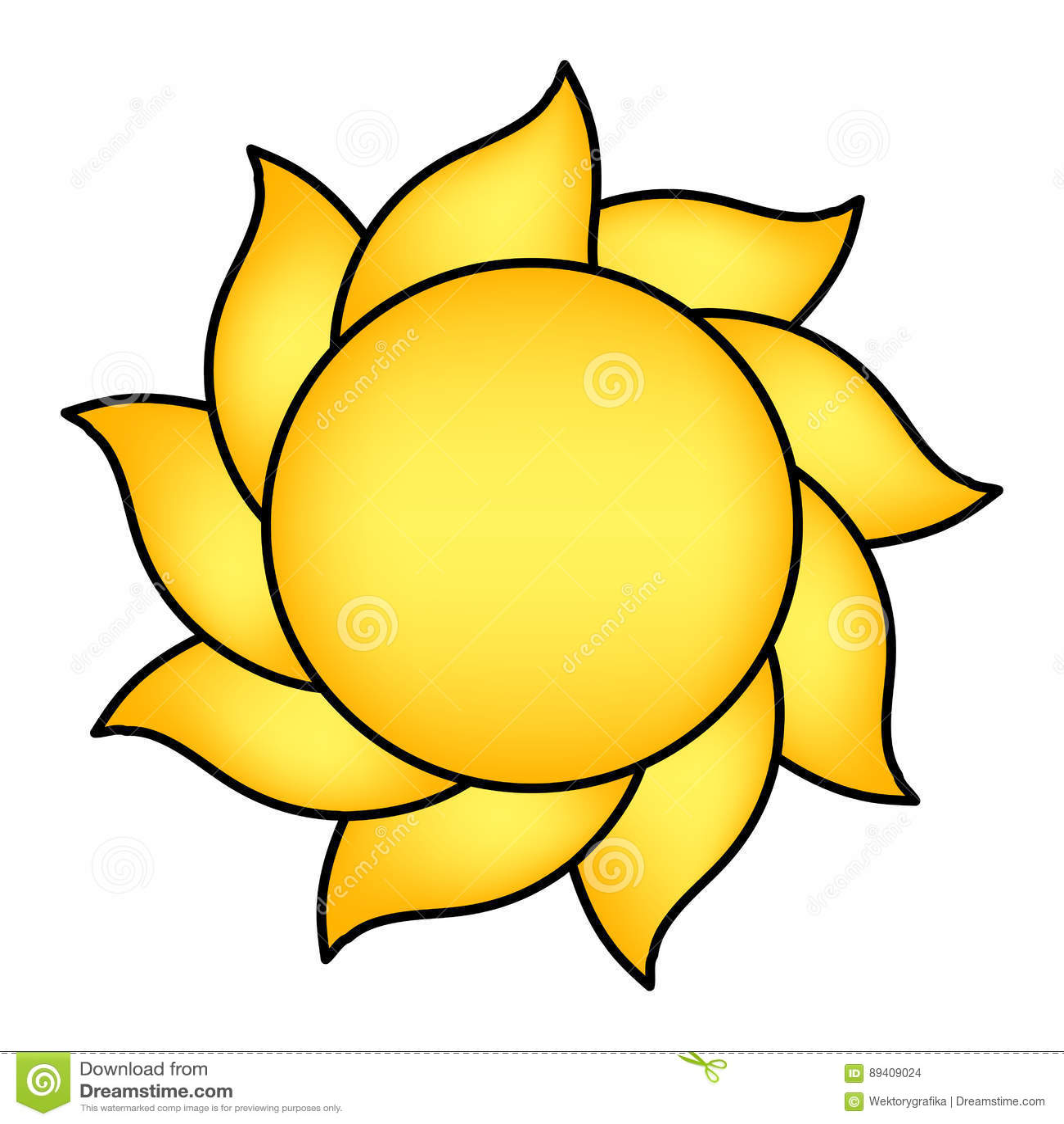 Projeto do ícone do símbolo do vetor do sol dos desenhos animados
