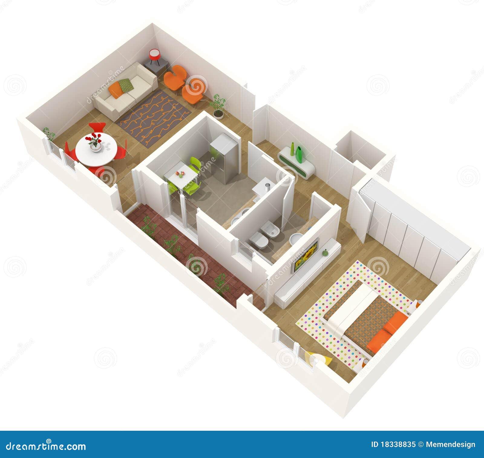 Projeto do apartamento planta de assoalho 3d foto de for Flat plan design
