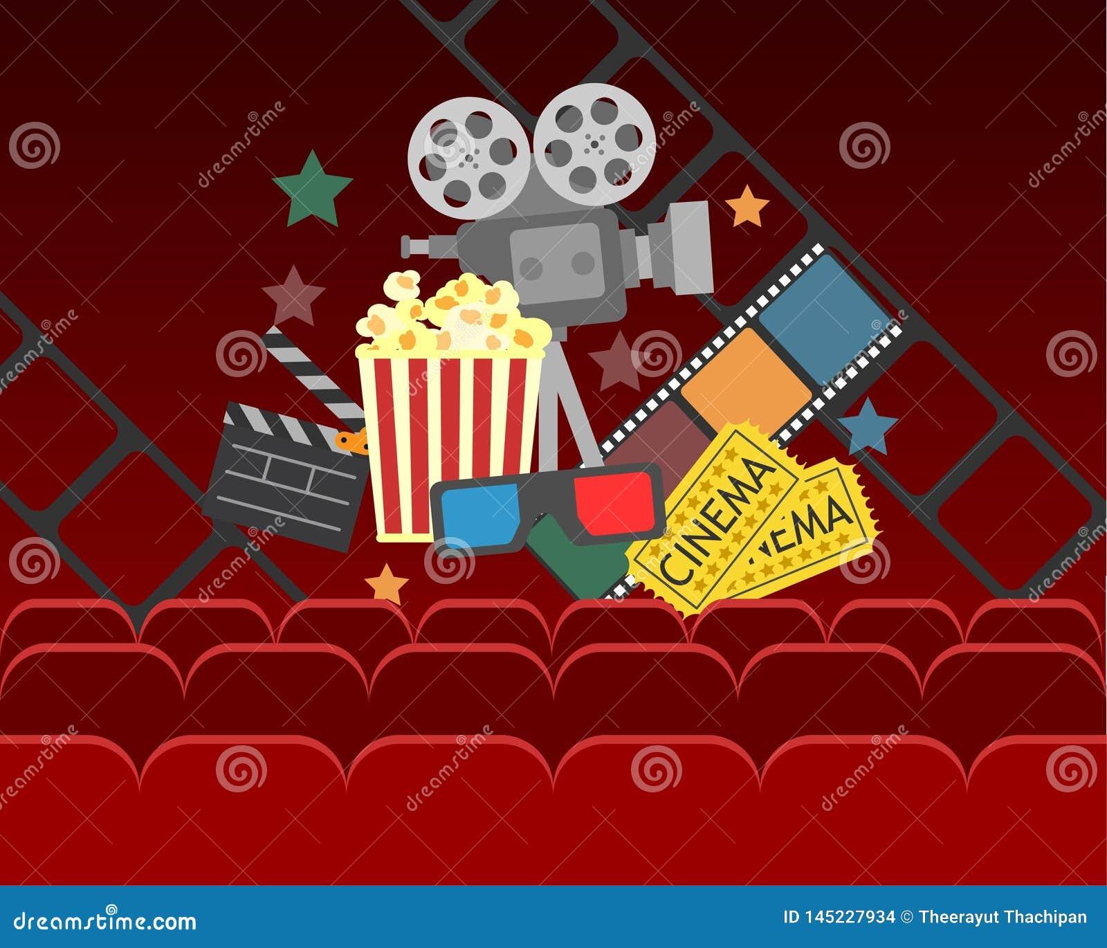 Projeto do cartaz do cinema do filme bandeira do vetor para a mostra com cortinas, assentos, pipoca, bilhetes