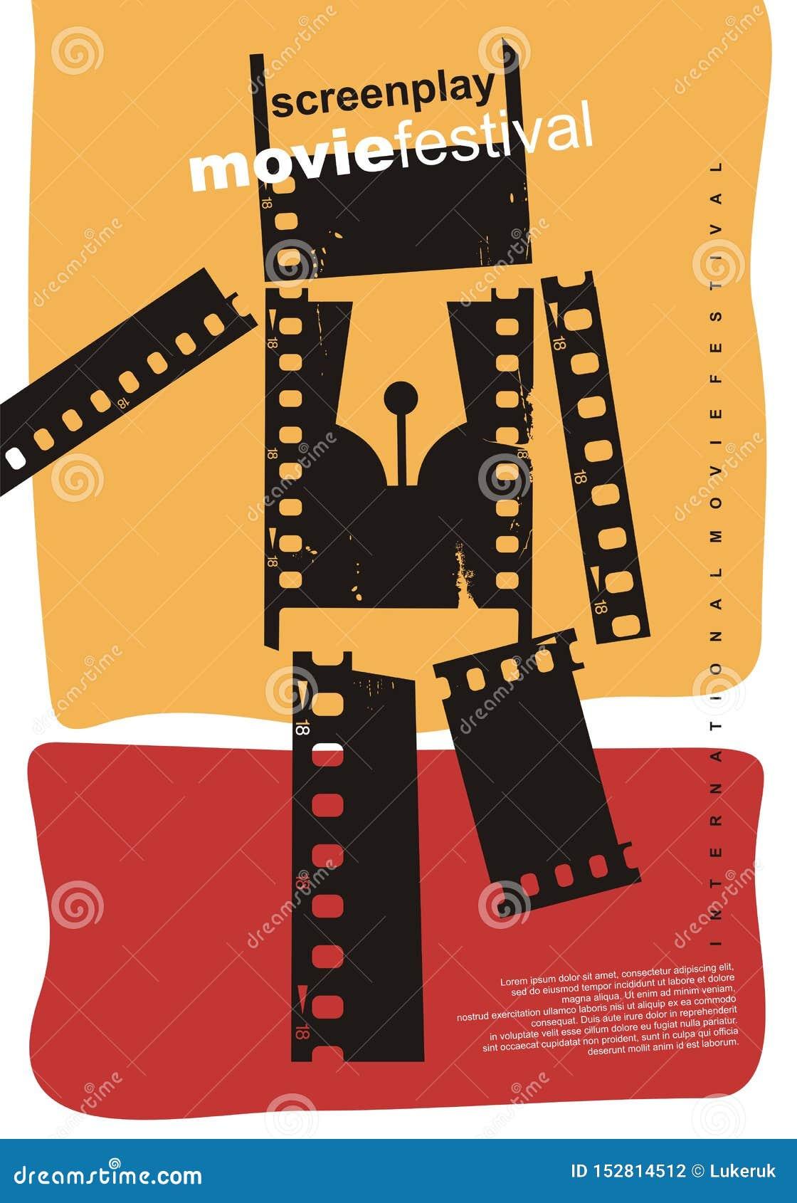 Projeto do cartaz do sumário do festival de cinema do guião