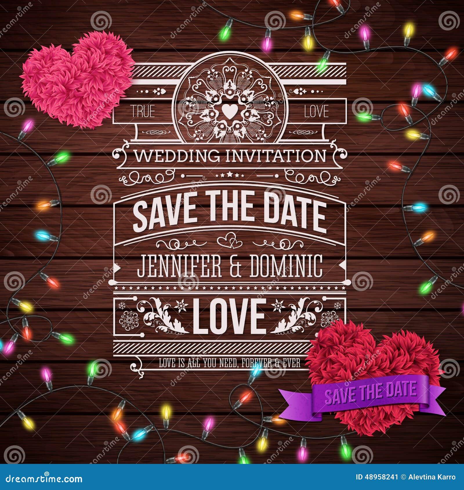Projeto Do Convite Do Casamento No Fundo De Madeira Ilustração Do