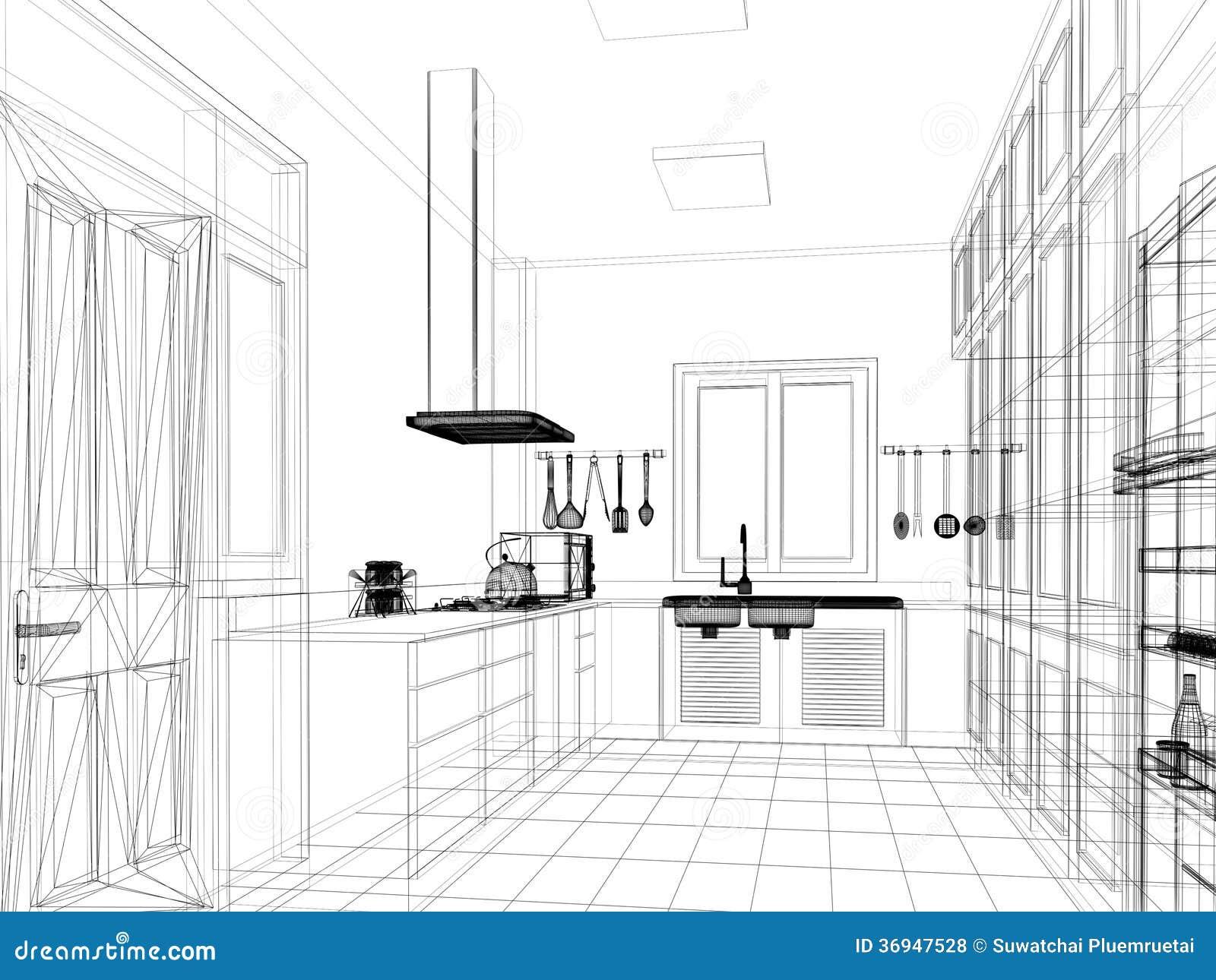 Projeto do esboço da cozinha interior