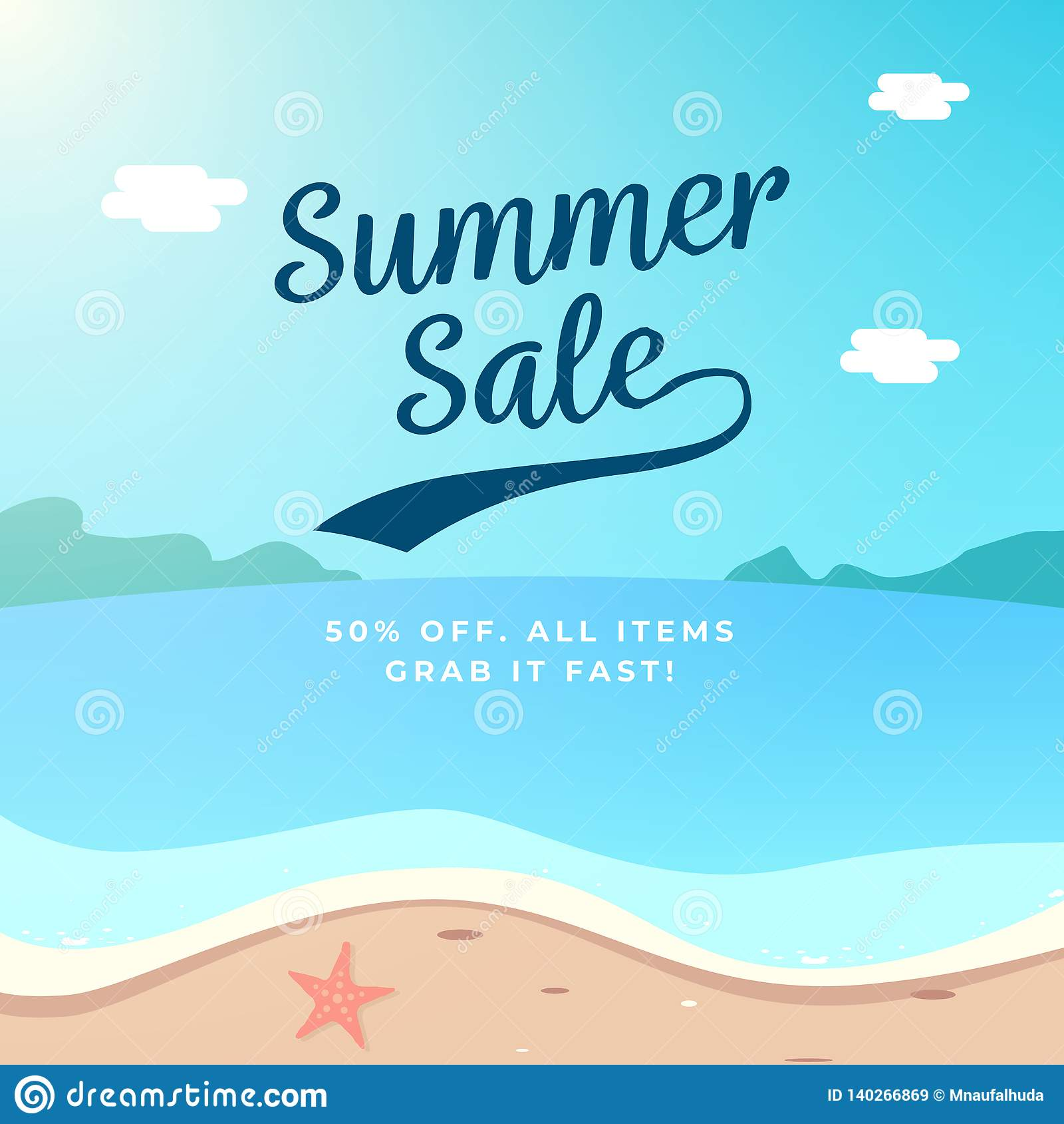 Projeto do fundo da venda do verão ilustração do vetor do cenário da praia