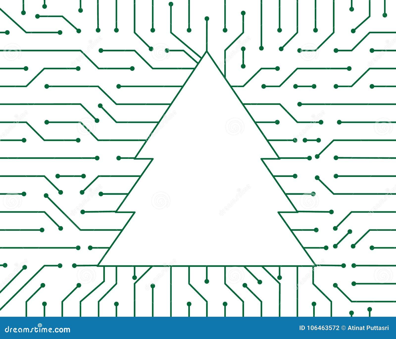 Projeto do fundo do sumário da tecnologia do vetor do circuito do verde da árvore de Natal