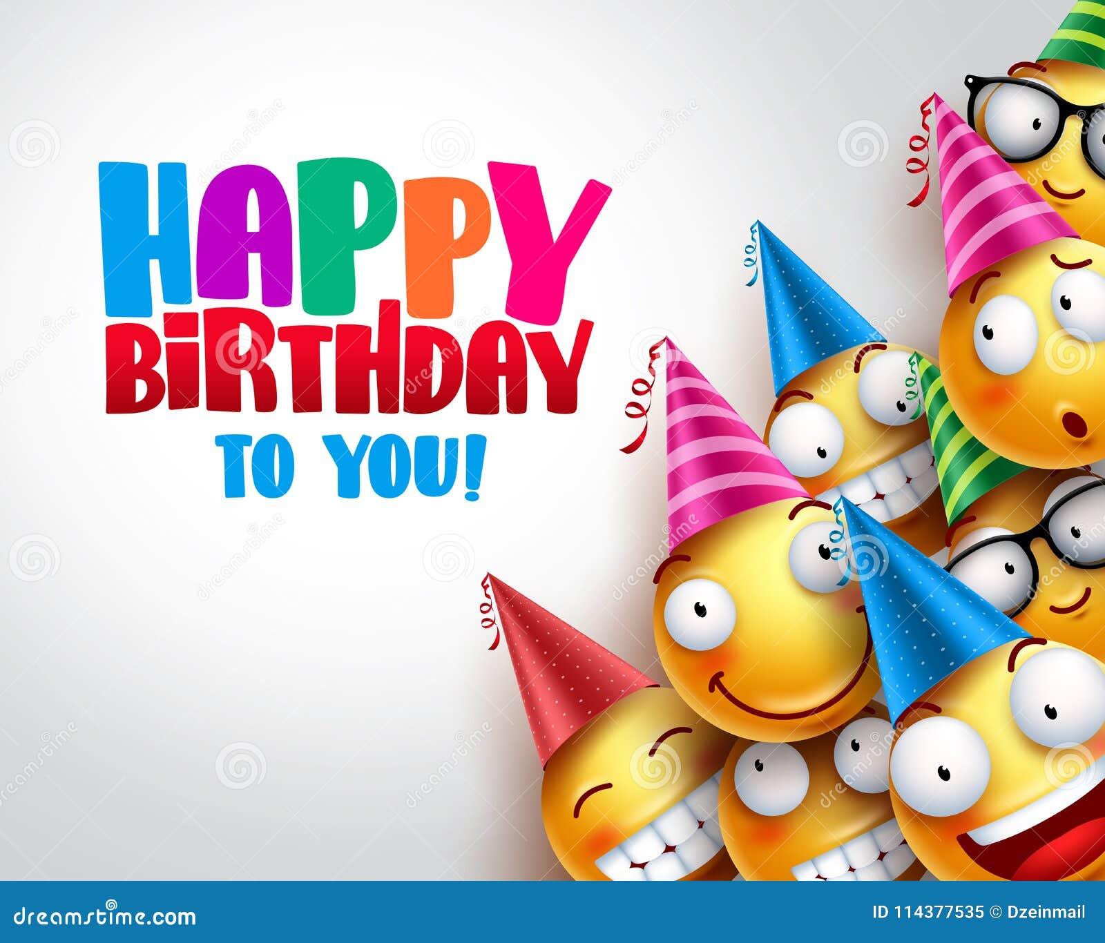 Projeto do fundo do vetor dos smiley do aniversário com os emoticons engraçados e felizes amarelos