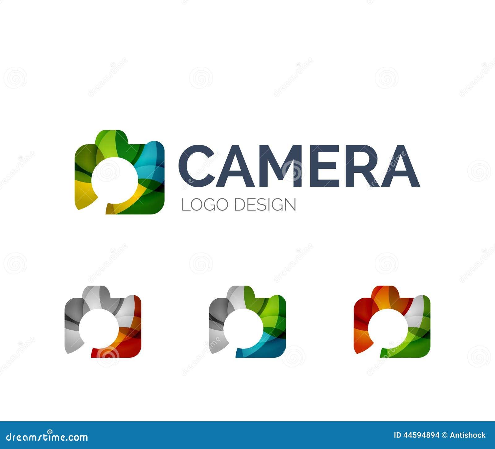 Projeto do logotipo da câmera feito de partes da cor