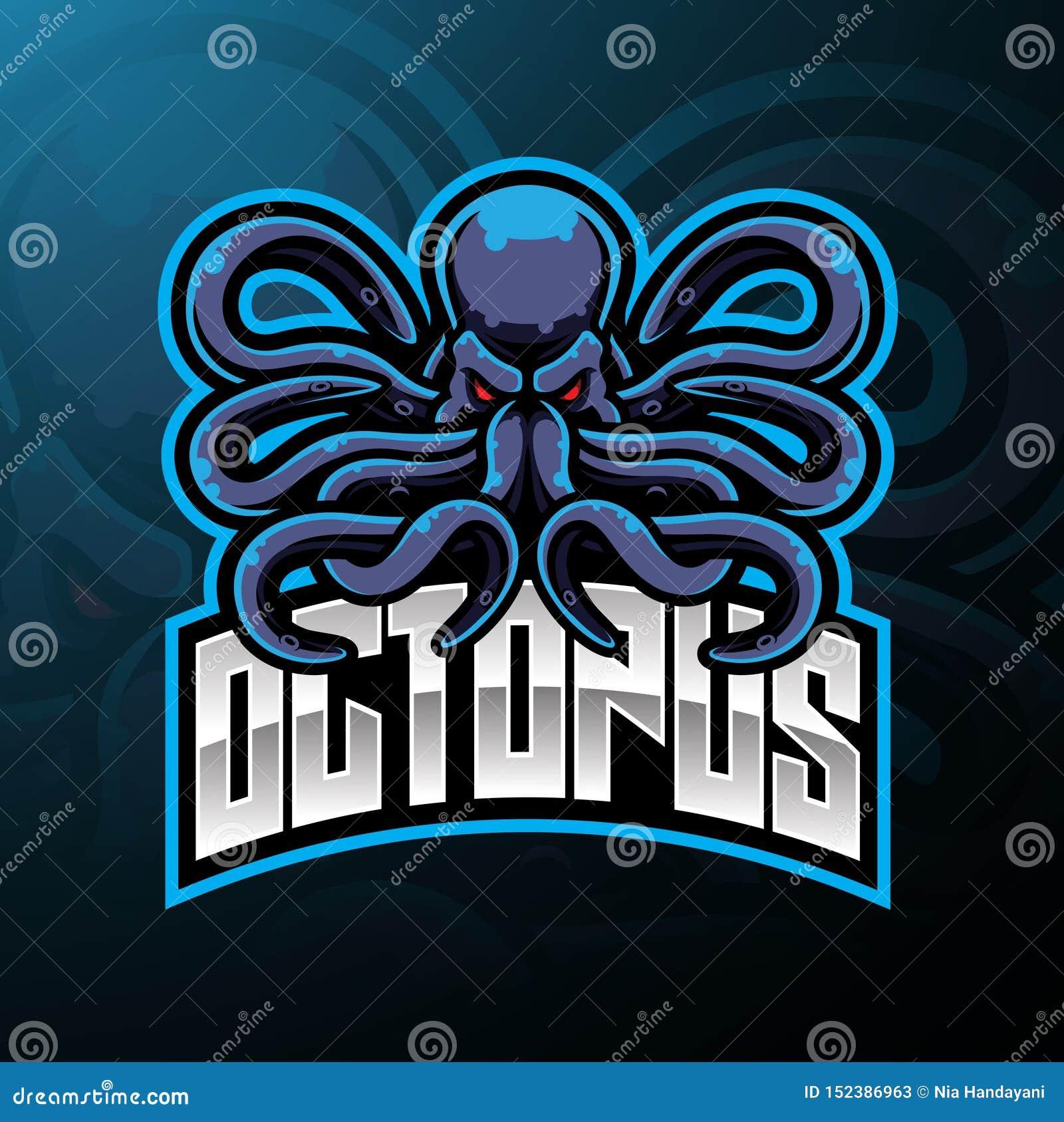 Projeto do logotipo da mascote do esporte do polvo