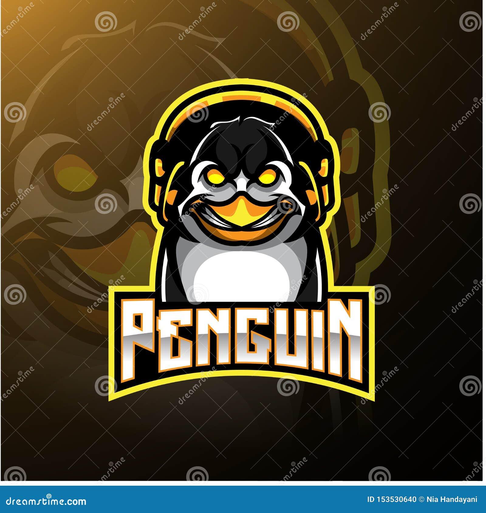 Projeto do logotipo da mascote do pinguim com fones de ouvido