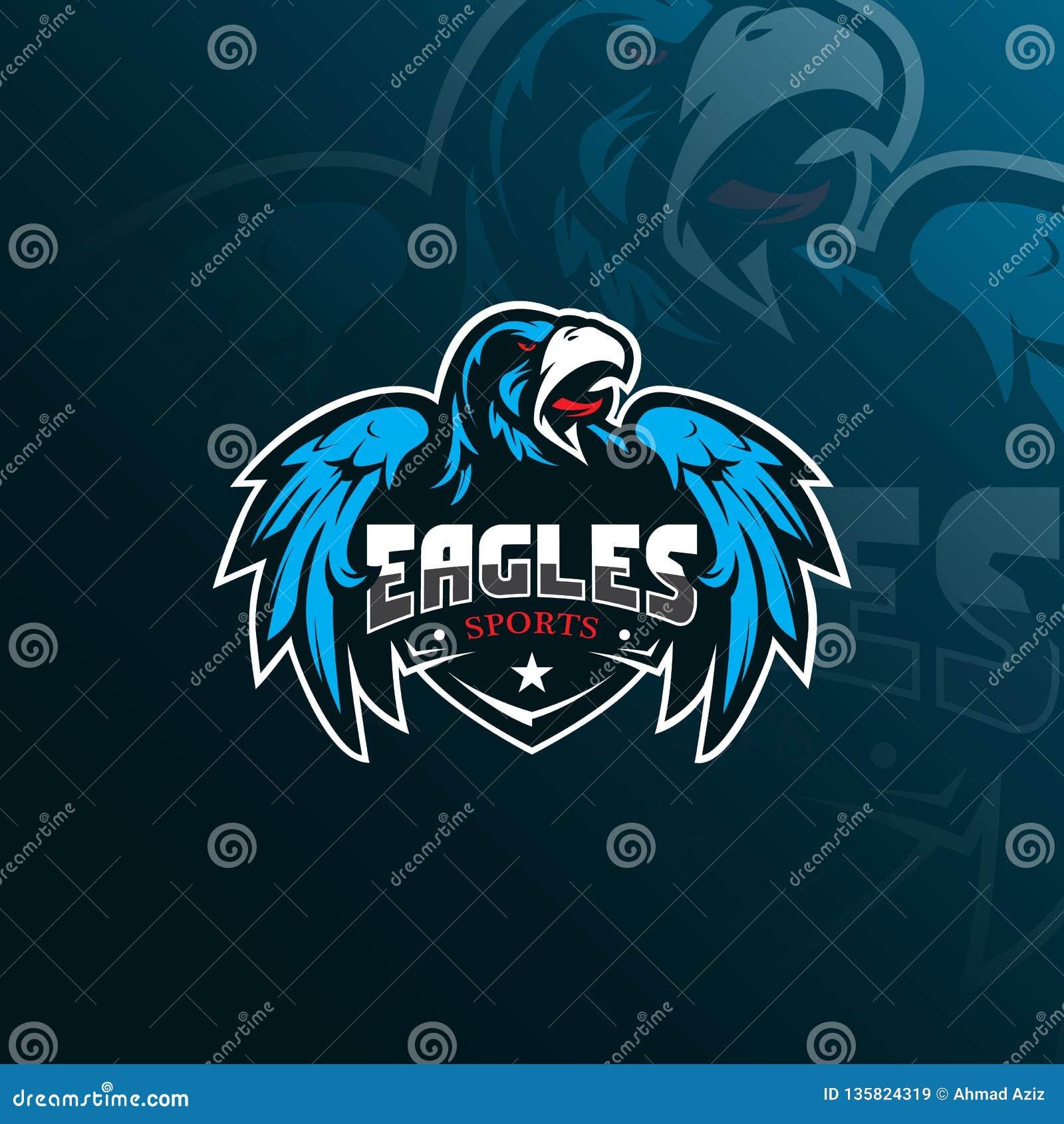 Projeto do logotipo da mascote do vetor de Eagle com estilo moderno do conceito da ilustração para a impressão do crachá, do embl