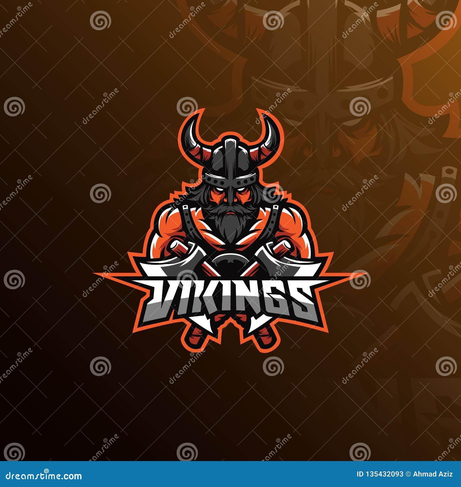 Projeto do logotipo da mascote do vetor de Viking com estilo moderno do conceito da ilustração para a impressão do crachá, do emb