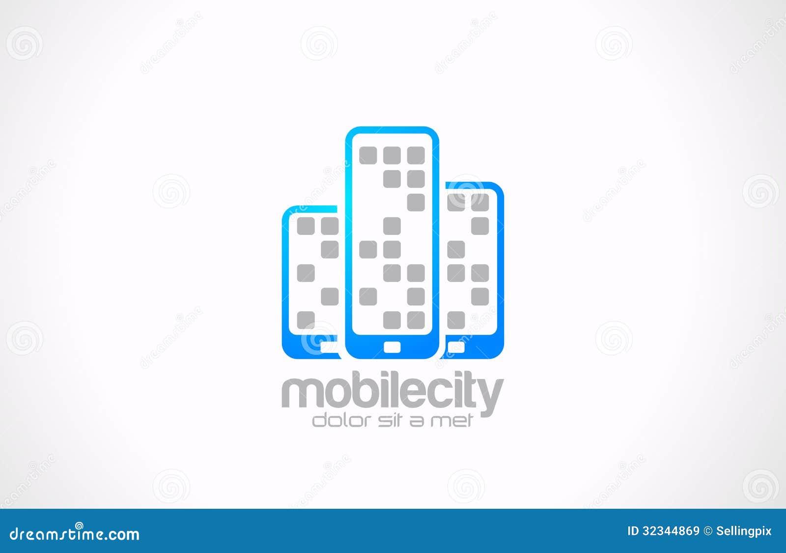 Projeto do logotipo dos telefones celulares. Negócio móvel co da cidade