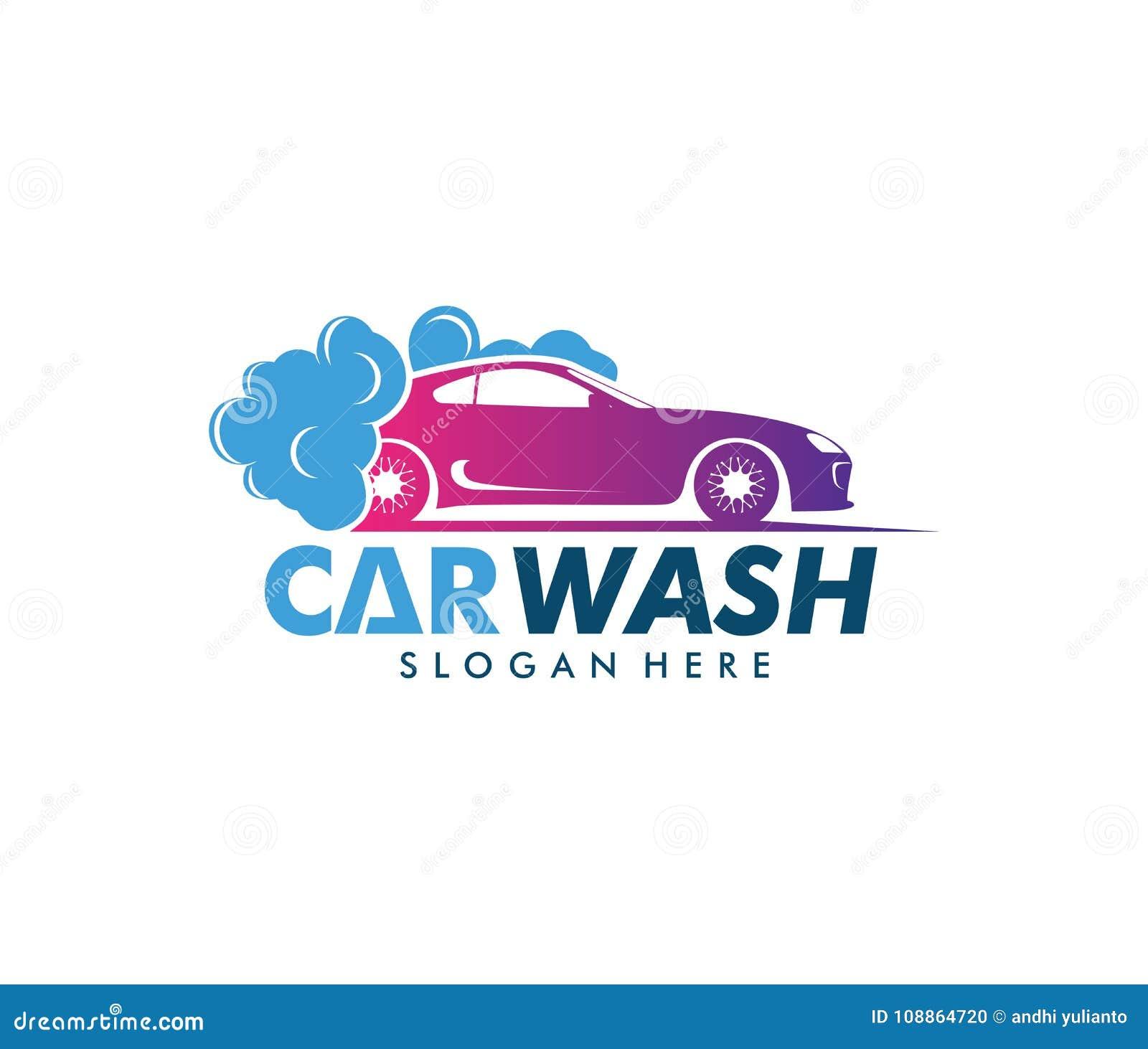 Projeto do logotipo do vetor do serviço da lavagem de carros, manutenção da lavagem de carros