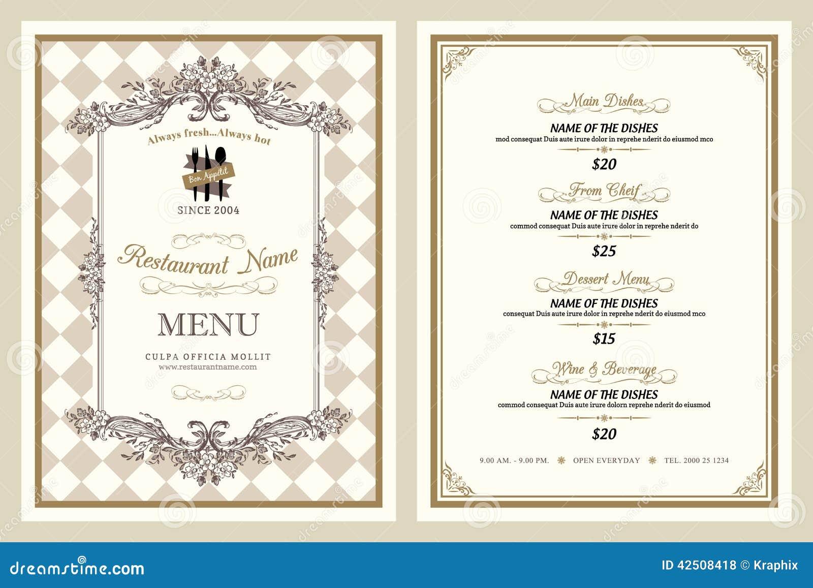 Projeto do menu do restaurante do estilo do vintage