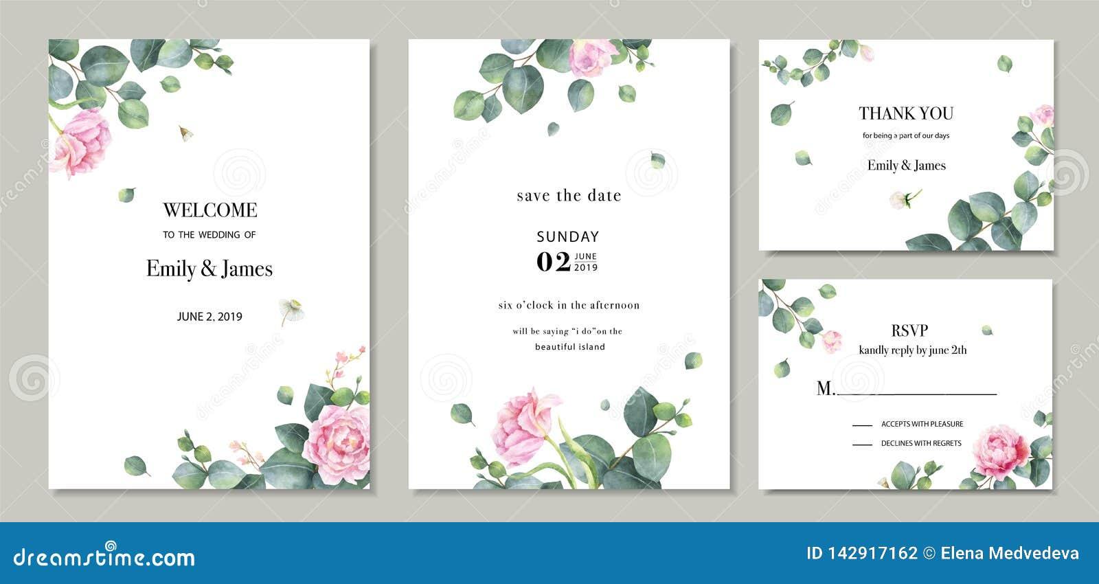 Projeto do molde do cartão do convite do casamento do grupo do vetor da aquarela com as folhas e as flores verdes do eucalipto