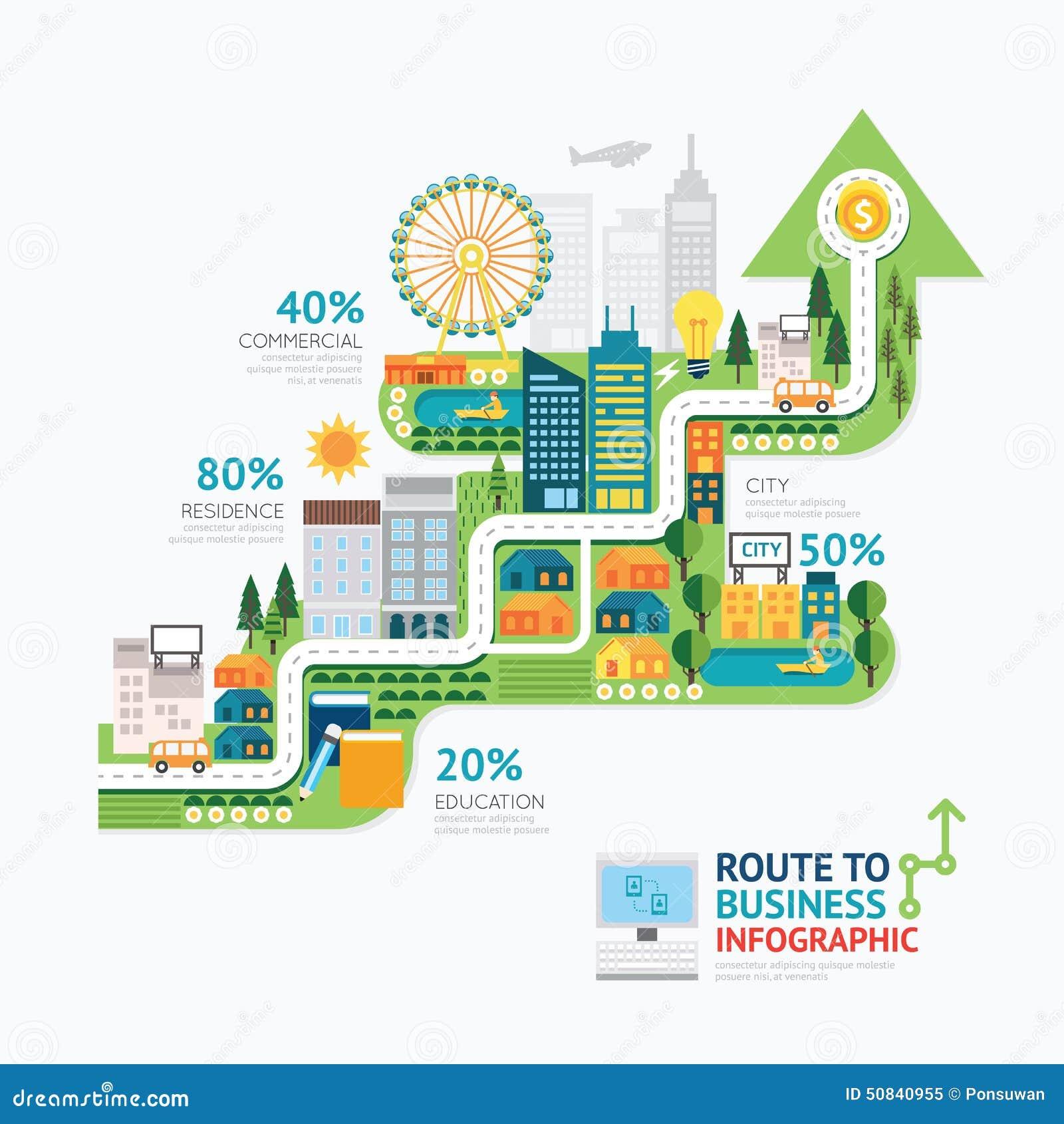 Projeto do molde da forma da seta do negócio de Infographic rota aos succes