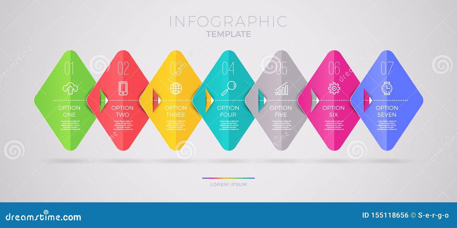 Projeto do molde de Infographic com ícones do negócio Opções ou etapas do witn sete do fluxograma Conceito do neg?cio de Infograp