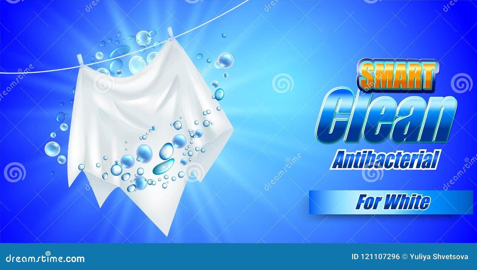 Projeto do molde do empacotamento para o pó de lavagem Realístico branco de matéria têxtil para anunciar o detergente