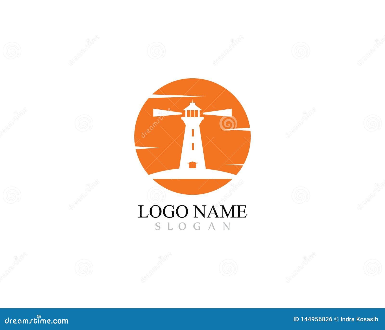 Projeto do molde do logotipo do farol com ilustração do ícone do vetor do por do sol