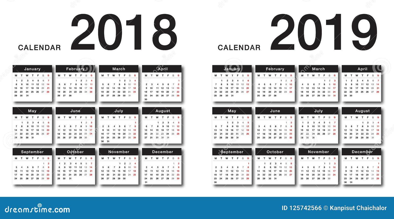 Projeto do molde do projeto do vetor do calendário do ano 2018 e do ano 2019, o simples e o limpo
