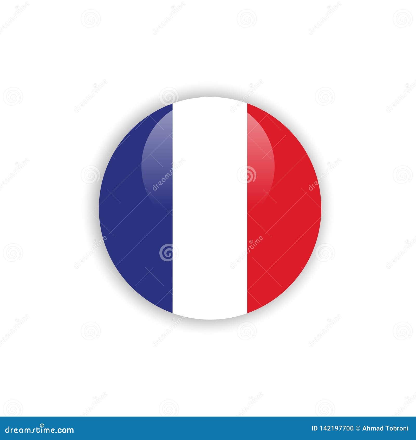 Projeto do molde do vetor da bandeira de França do botão
