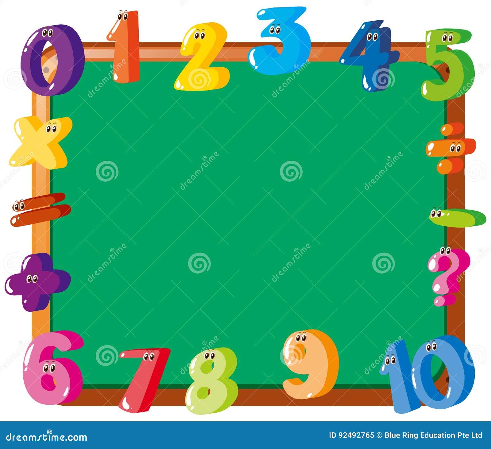 Projeto do quadro com números coloridos na beira