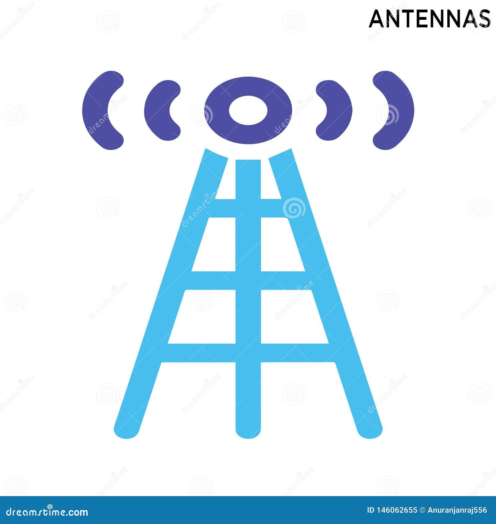 Projeto do símbolo do ícone das antenas isolado no fundo branco