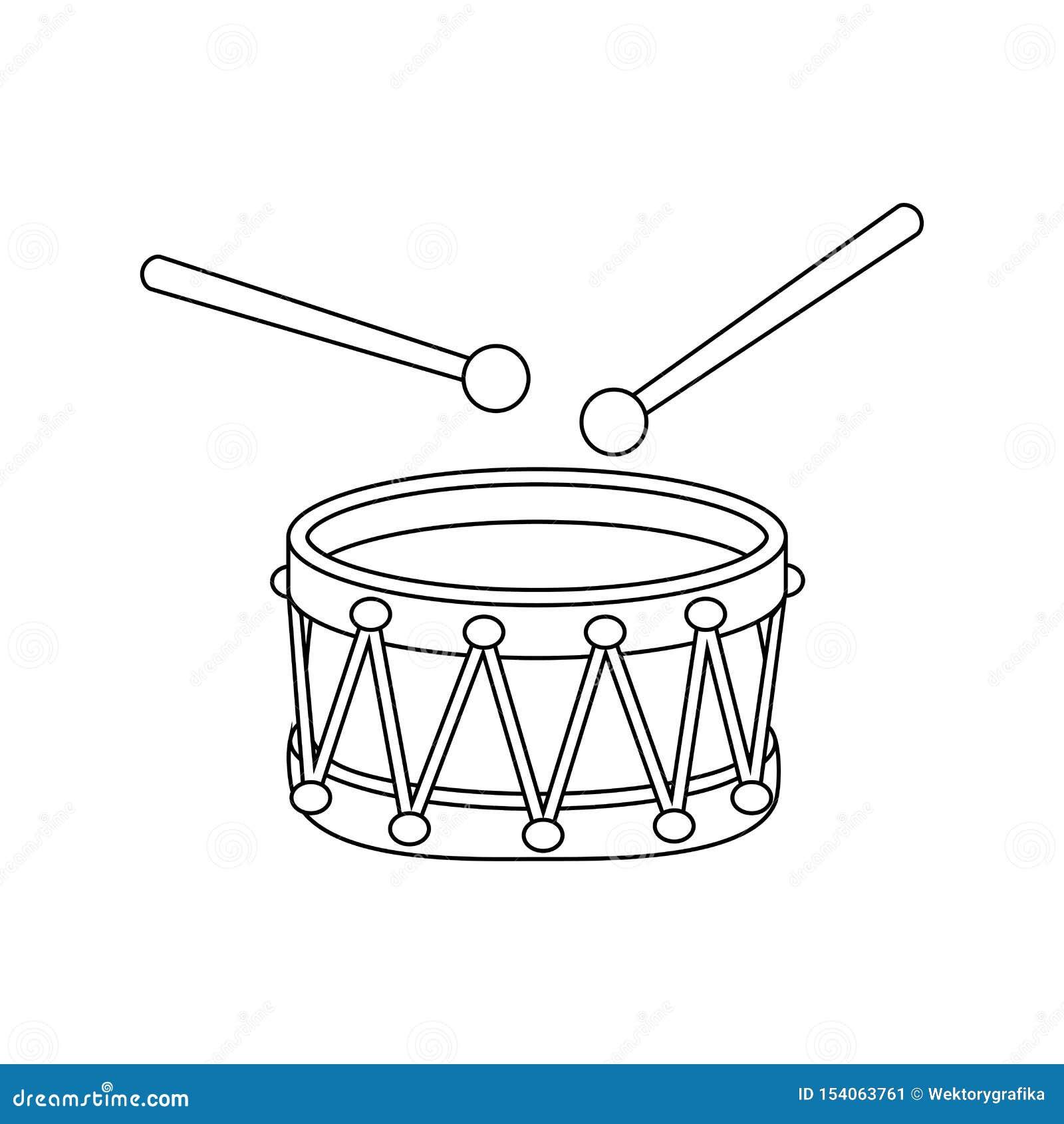 Projeto do símbolo do ícone dos desenhos animados do esboço do cilindro isolado no fundo branco